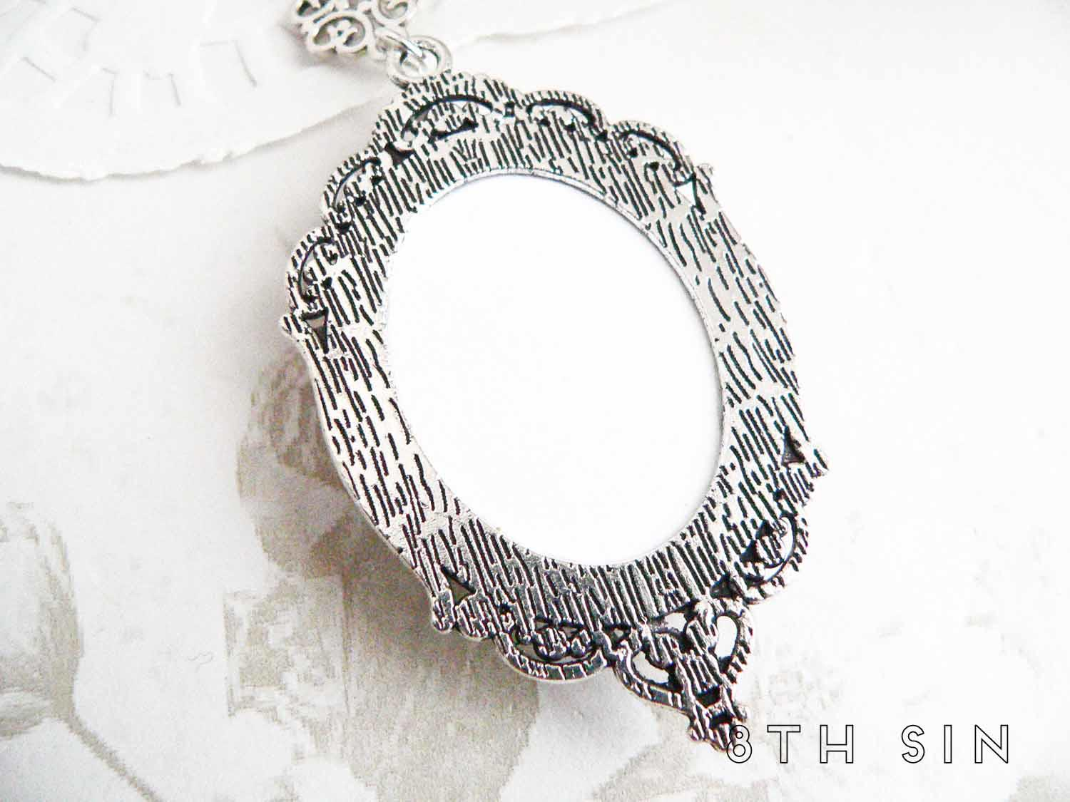 antique silver anatomy sketch necklace