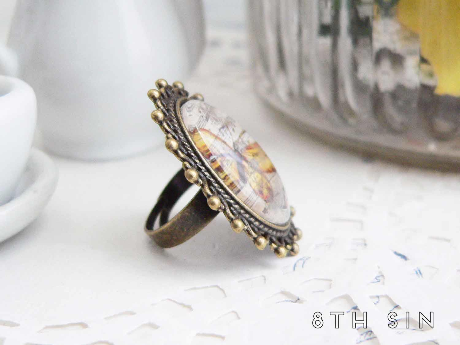 antique bronze monarch butterfly ring