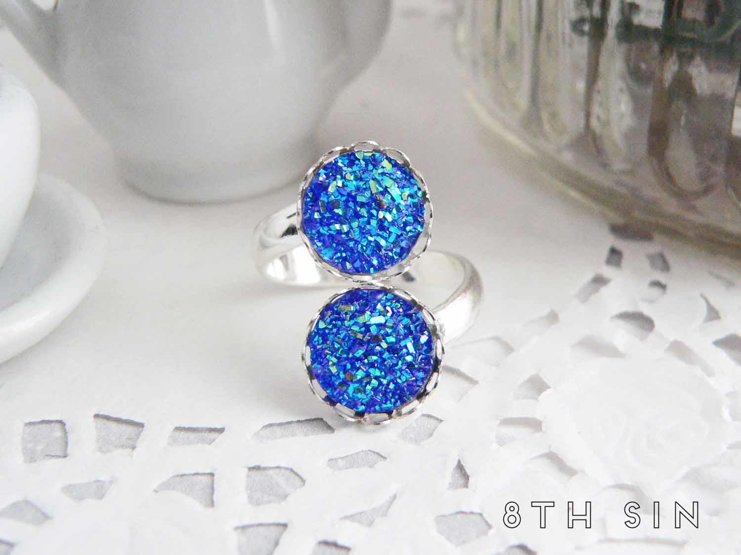 antique silver double blue druzy ring