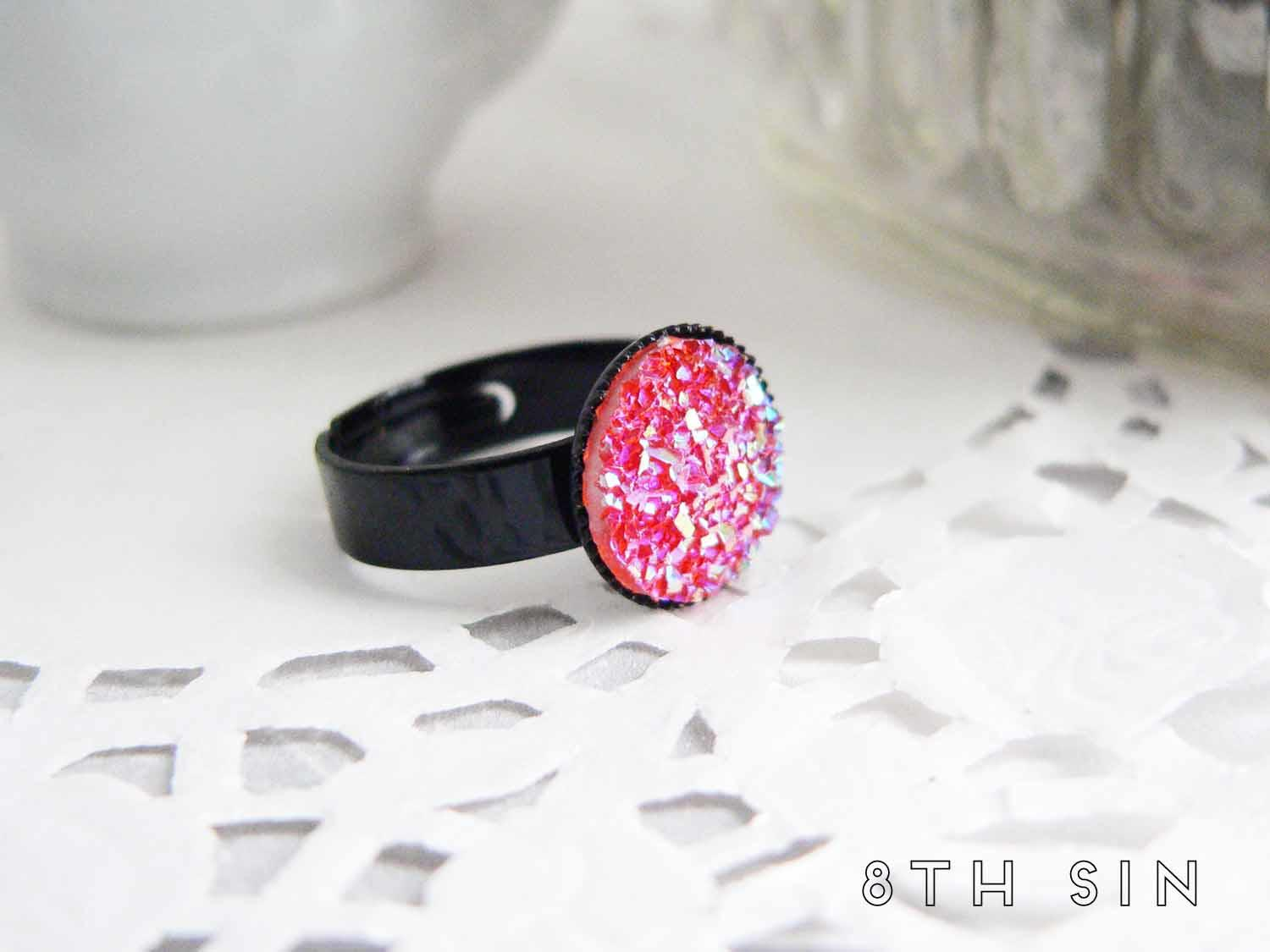 black faux druzy ring