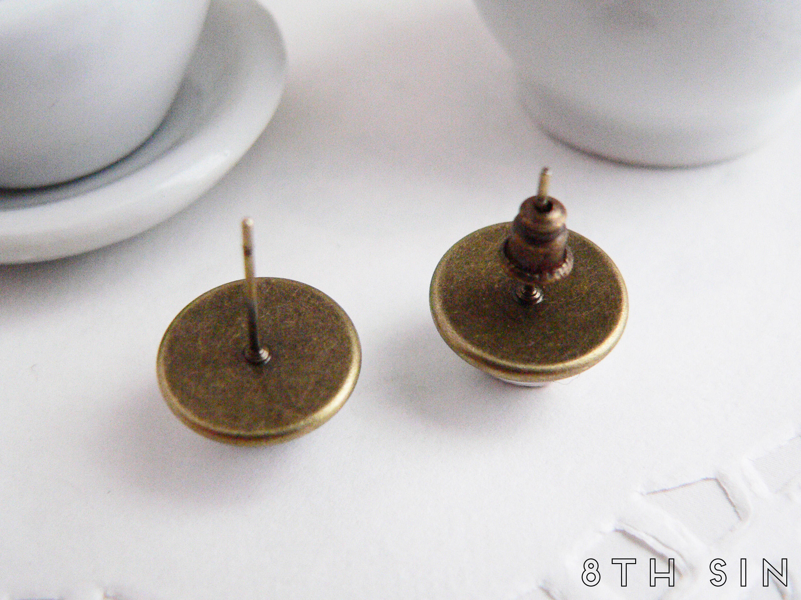 antique bronze sun and moon stud earrings
