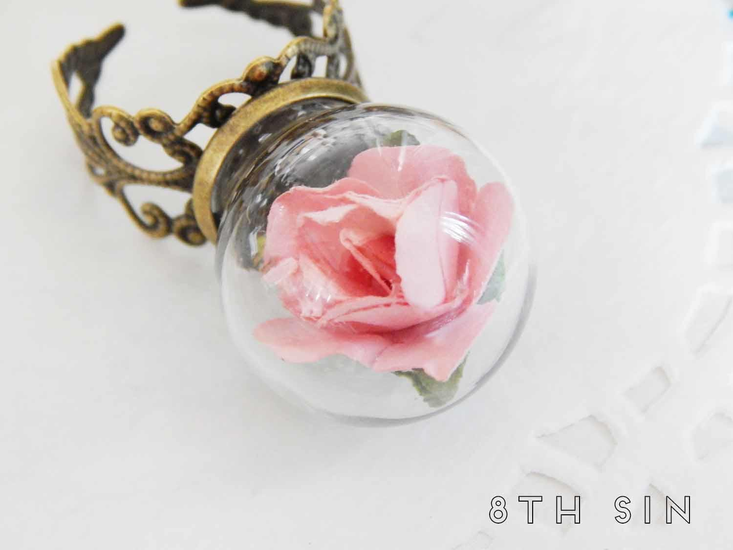 antique bronze and pink rose terrarium ring