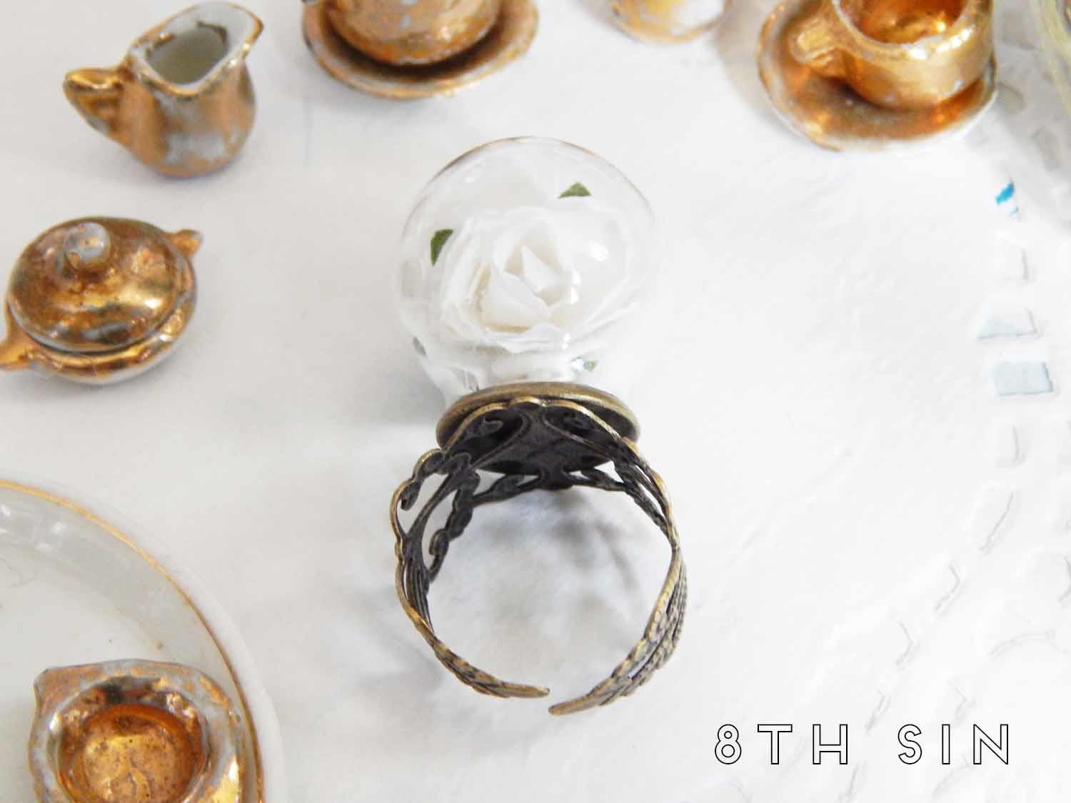 antique bronze and white rose terrarium ring
