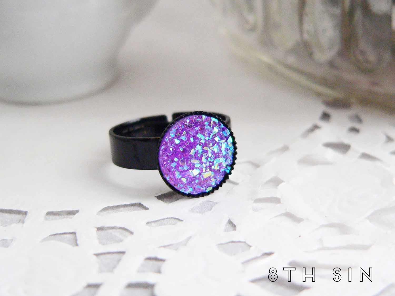 black and purple druzy ring