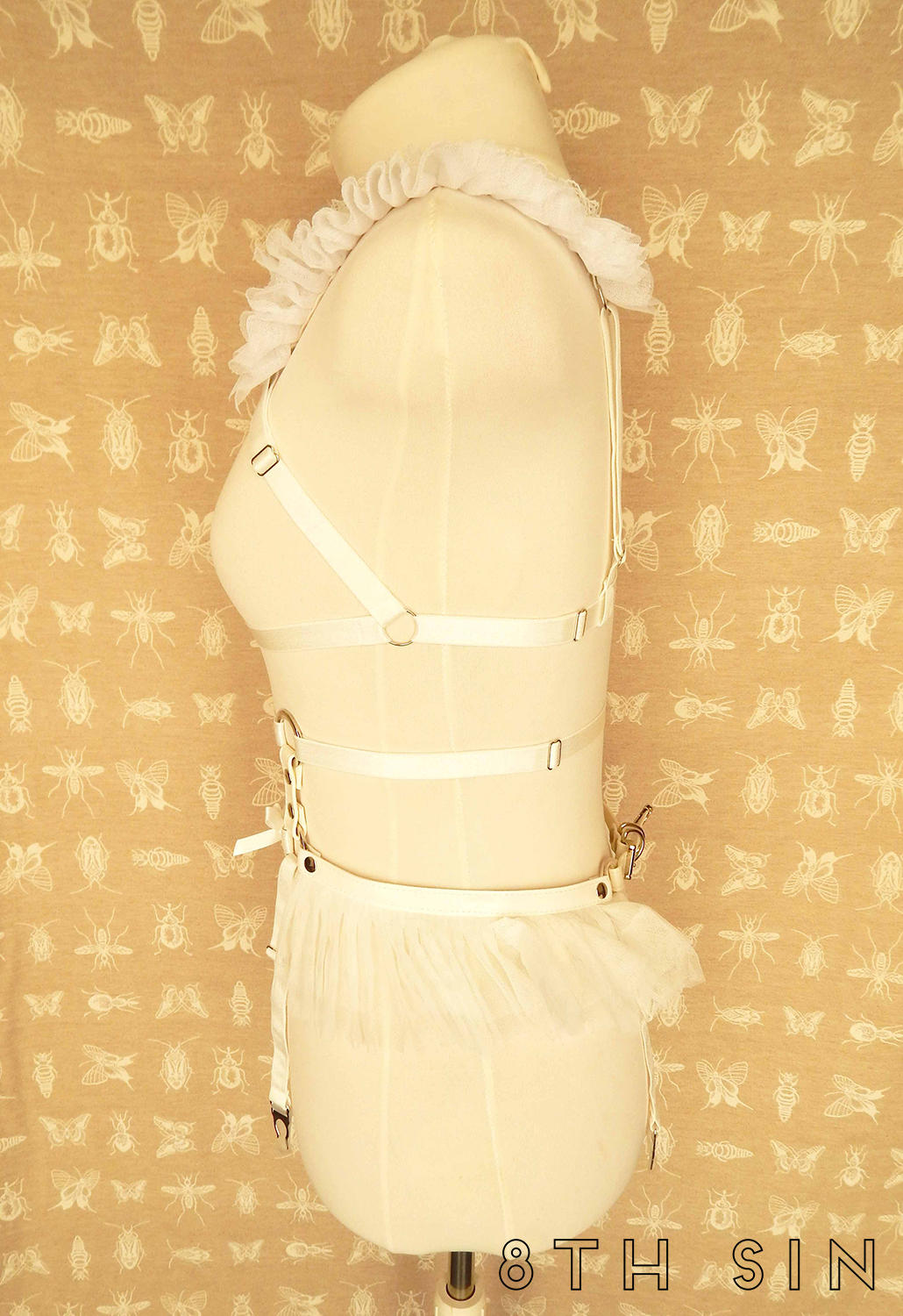 white elastic lace body harness set