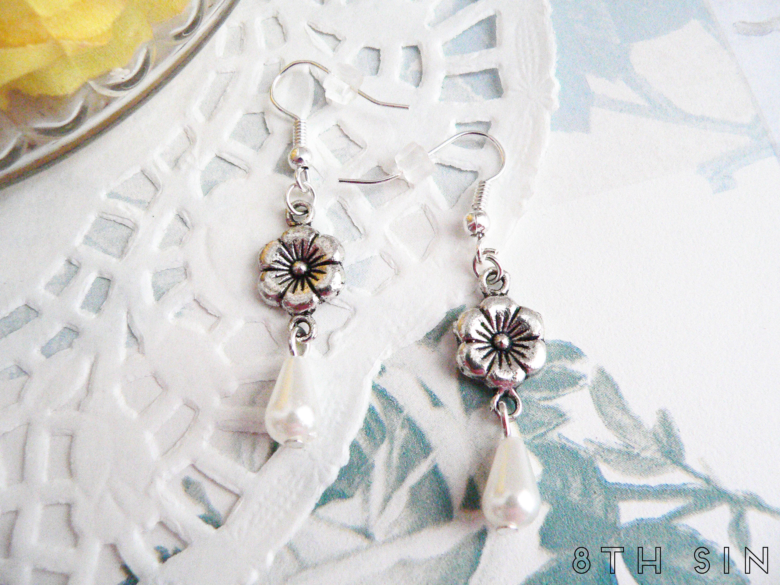 antique silver flower earrings