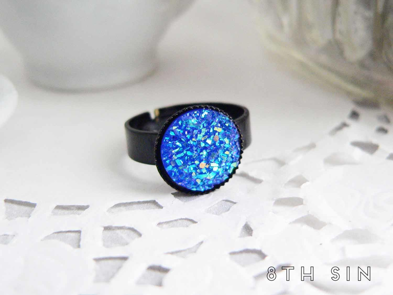 black and blue druzy ring