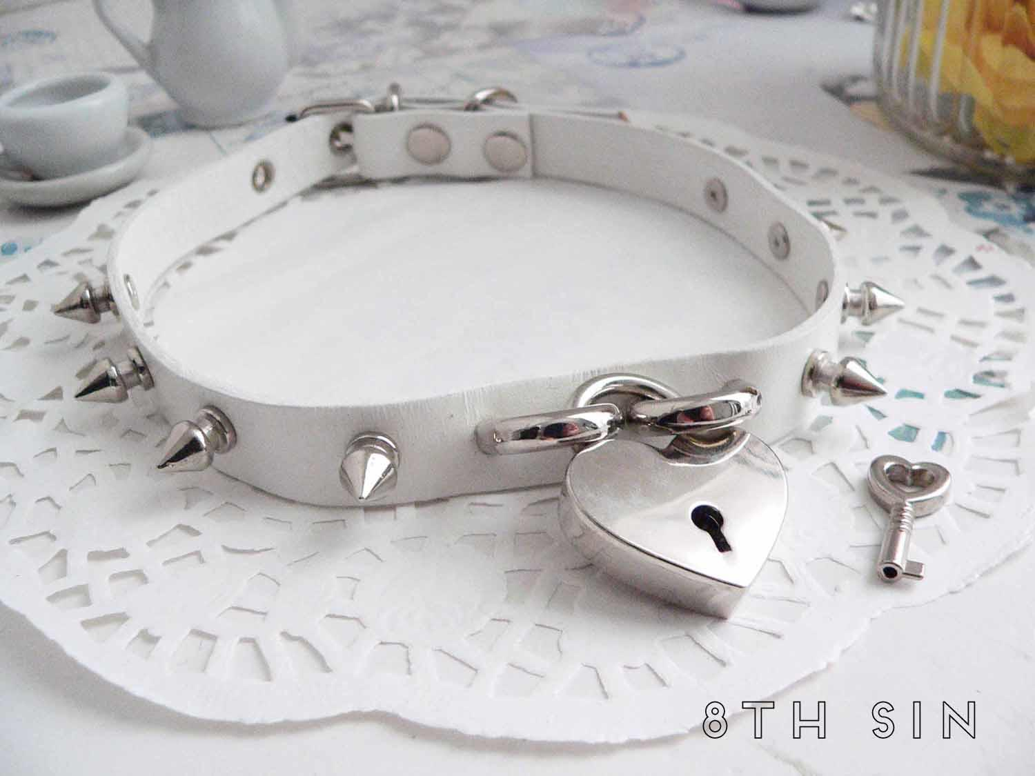 white leather heart padlock choker