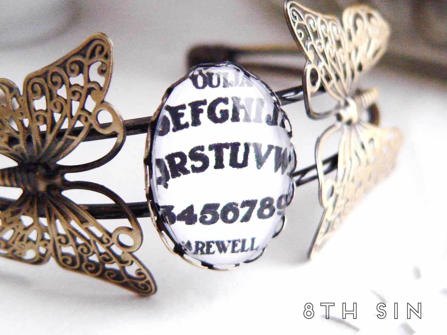 antique bronze ouija board bracelet