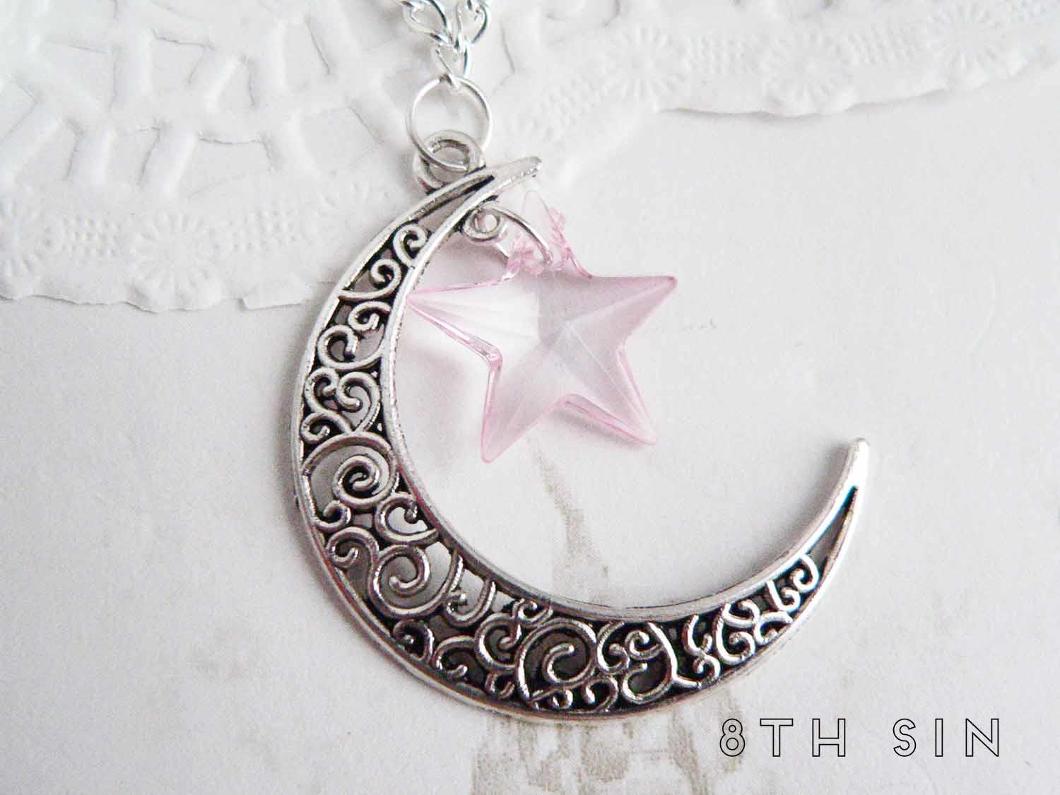 antique silver moon and star necklace