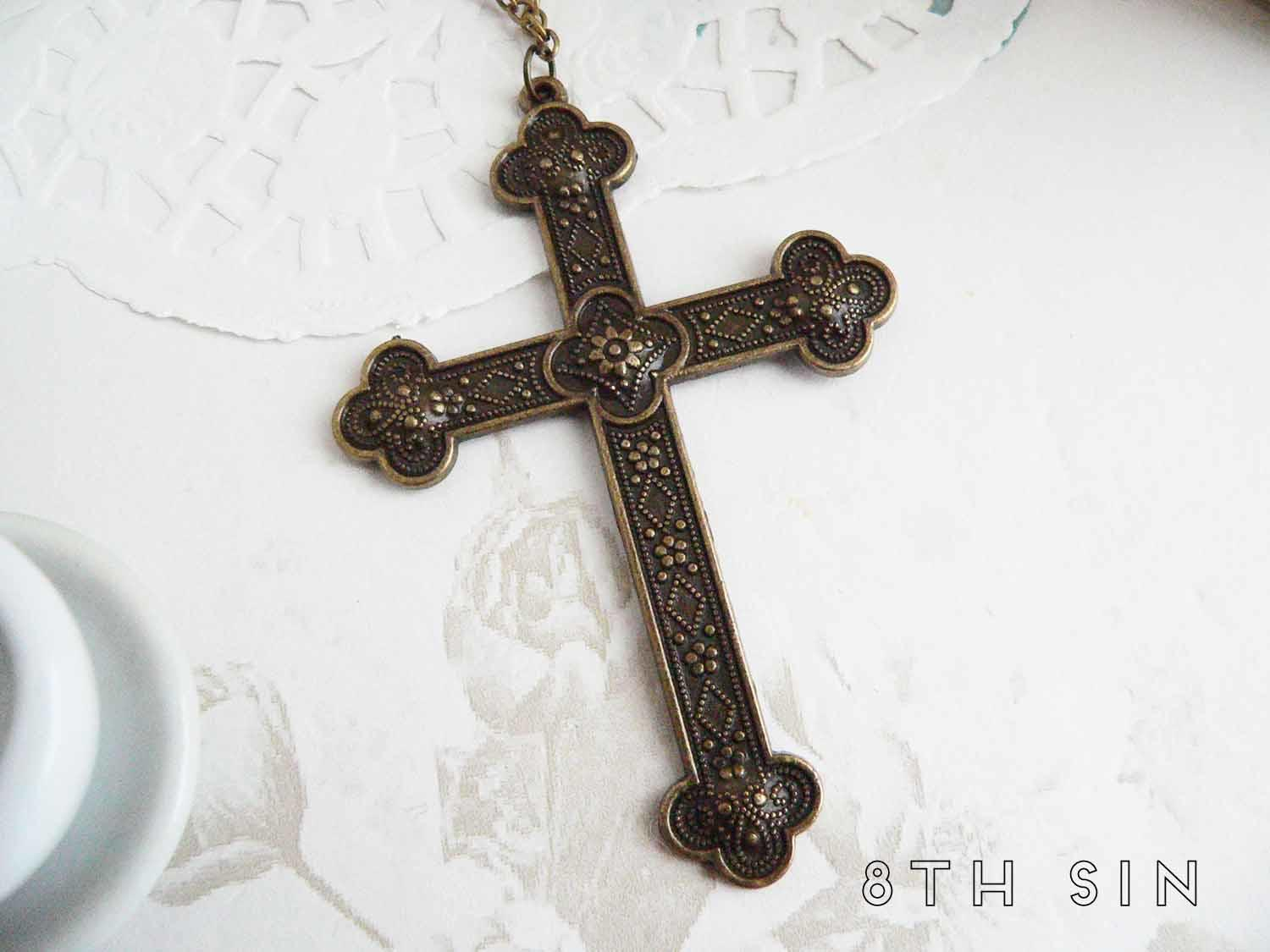 antique bronze cross necklace