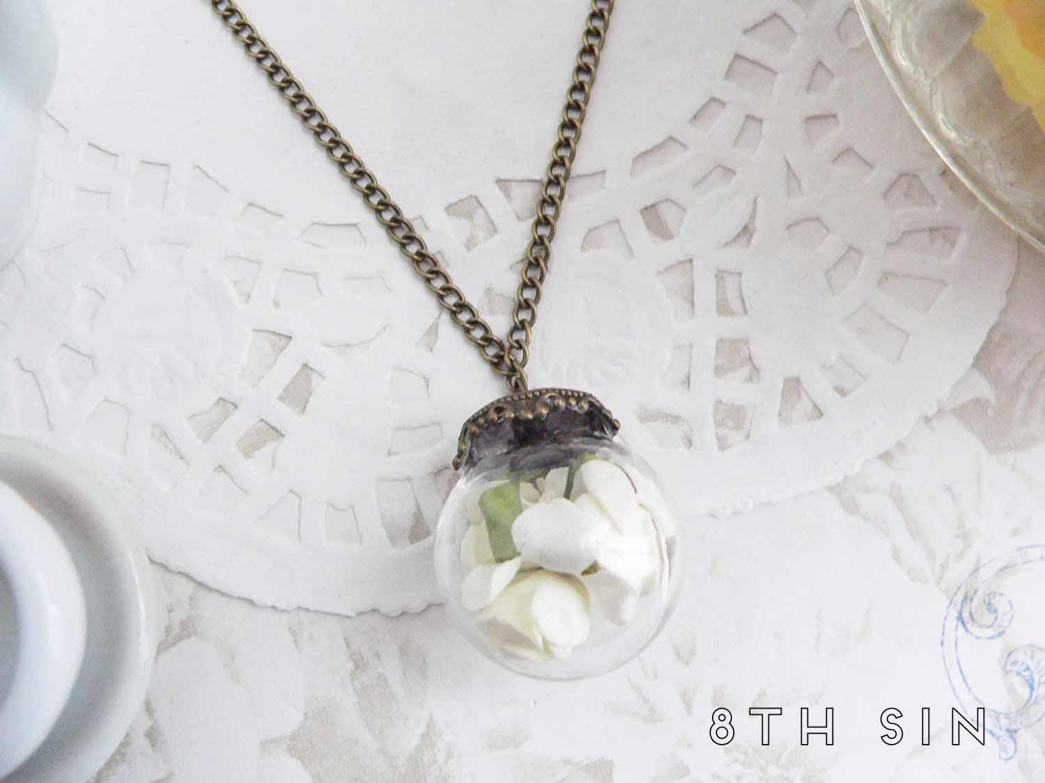 antique bronze and white rose terrarium necklace