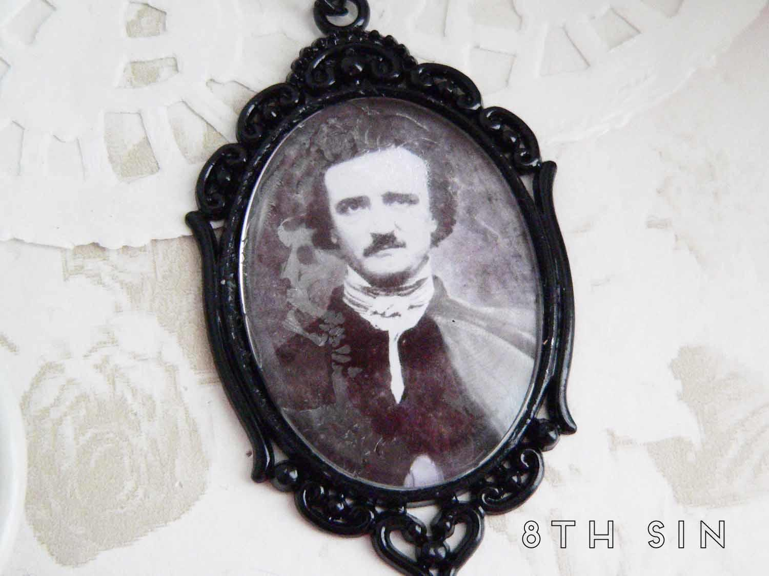 black edgar allan poe necklace