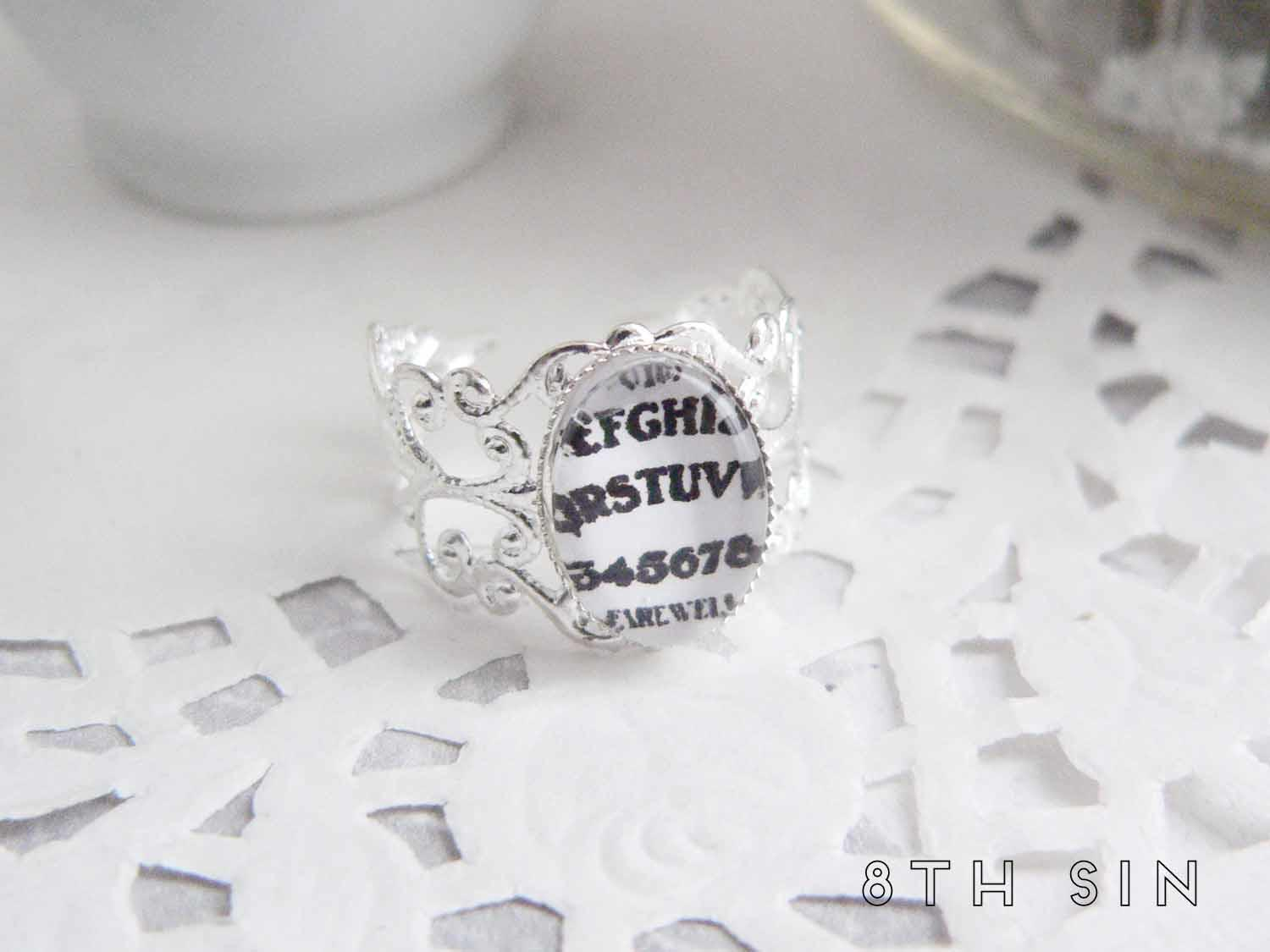antique silver and white ouija board ring