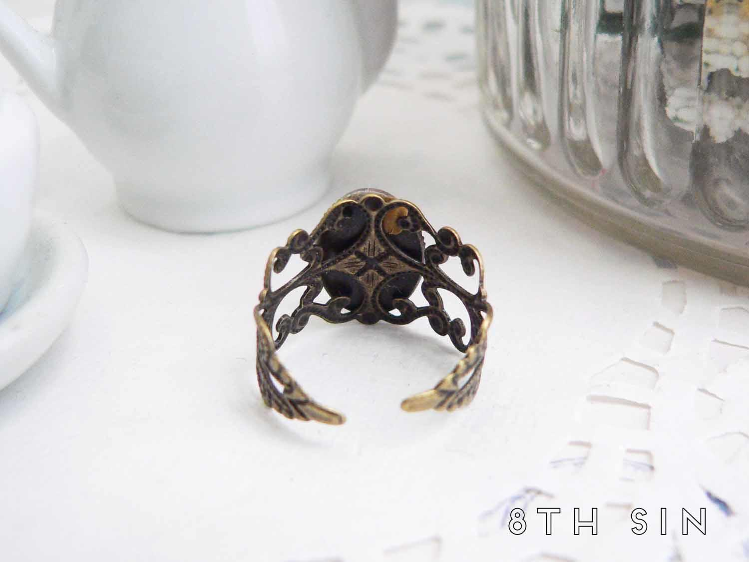antique bronze bee ring