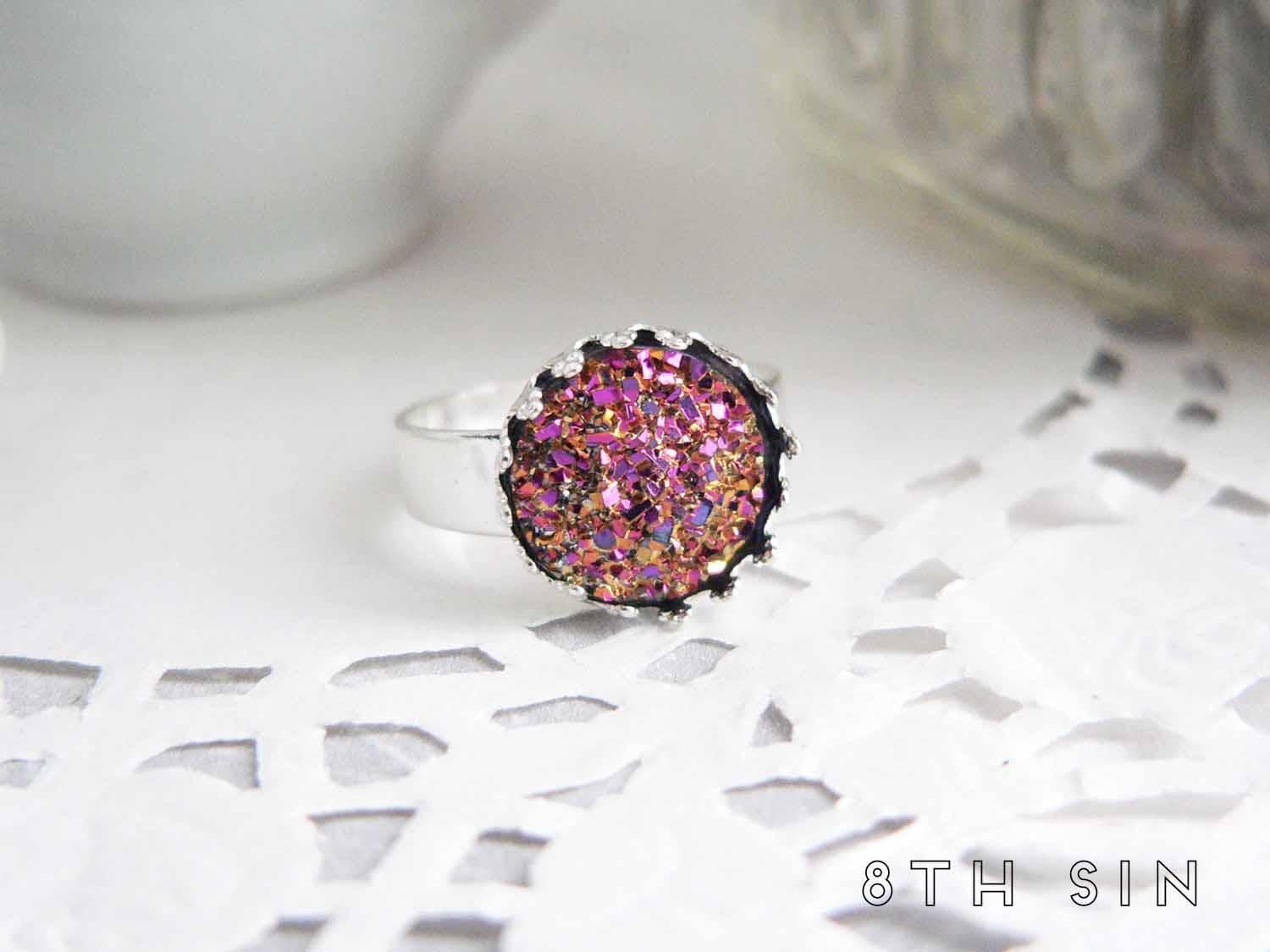 antique silver rose gold druzy ring