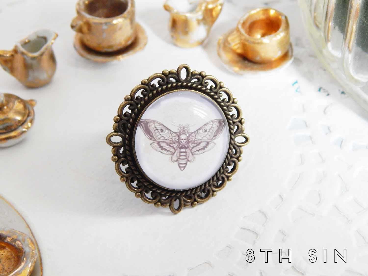antique bronze death moth ring