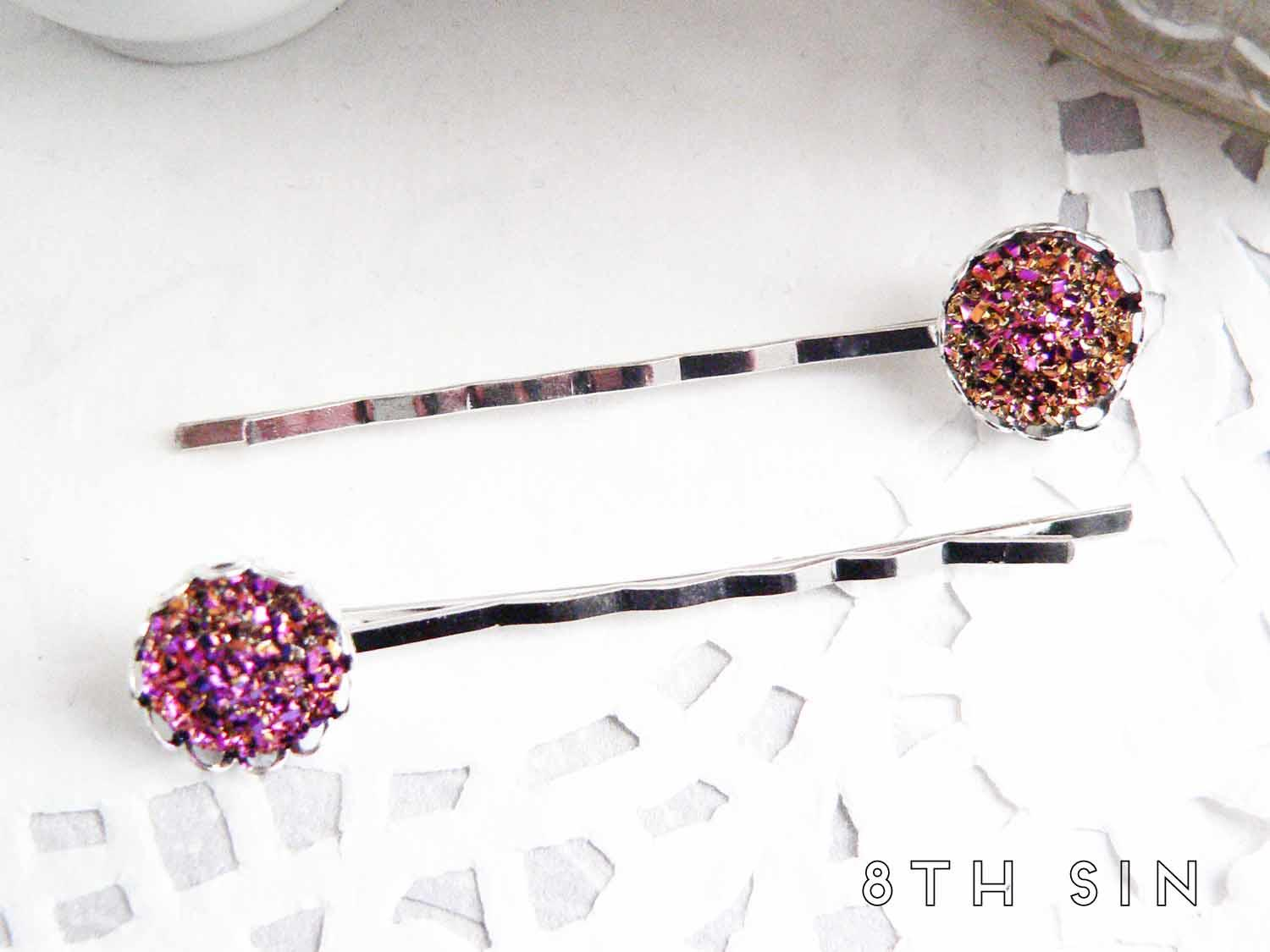 antique silver and rose gold druzy hair slides