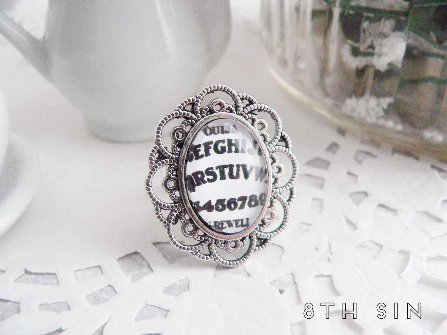 antique silver ouija board ring