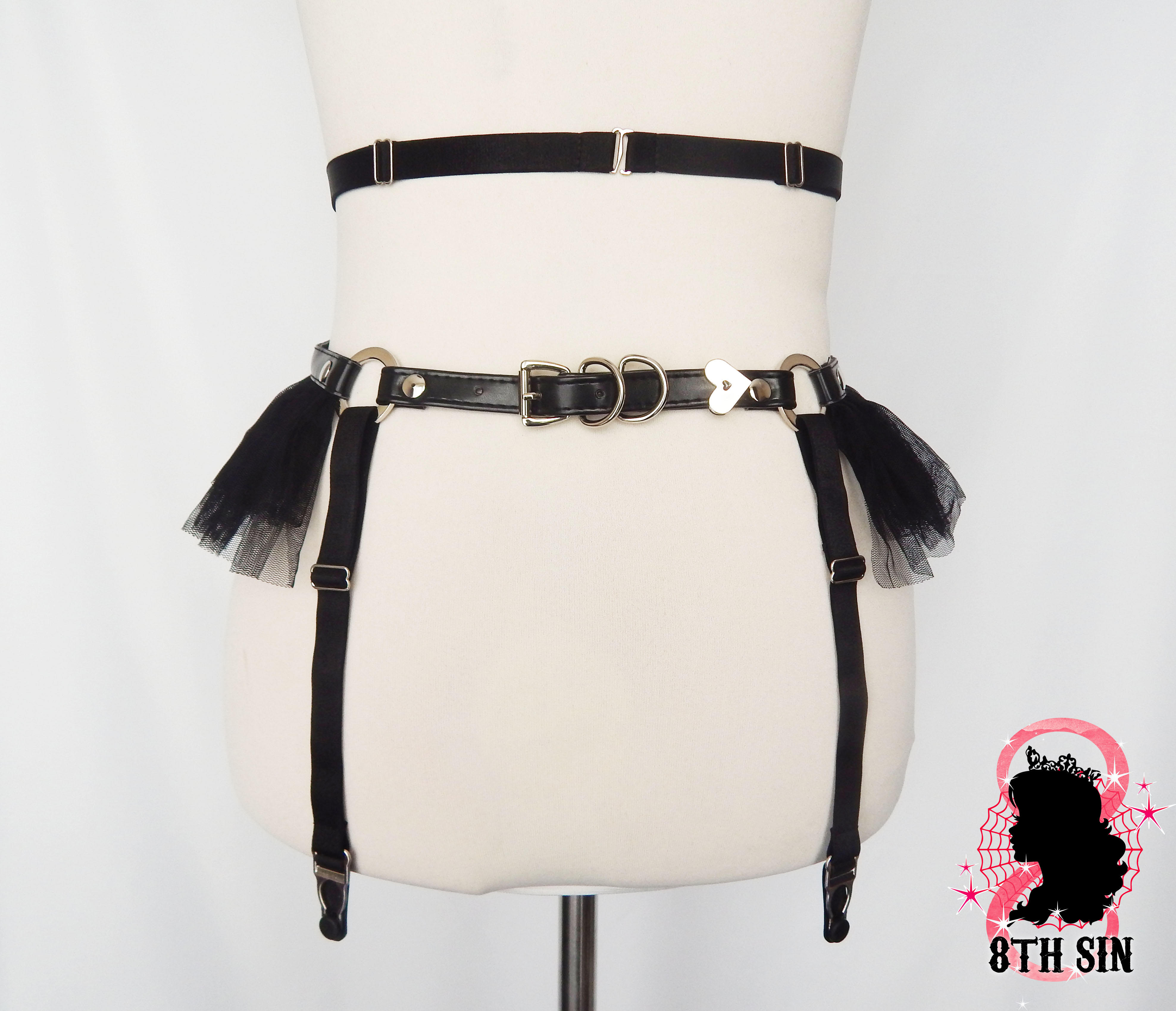 black frill garter belt