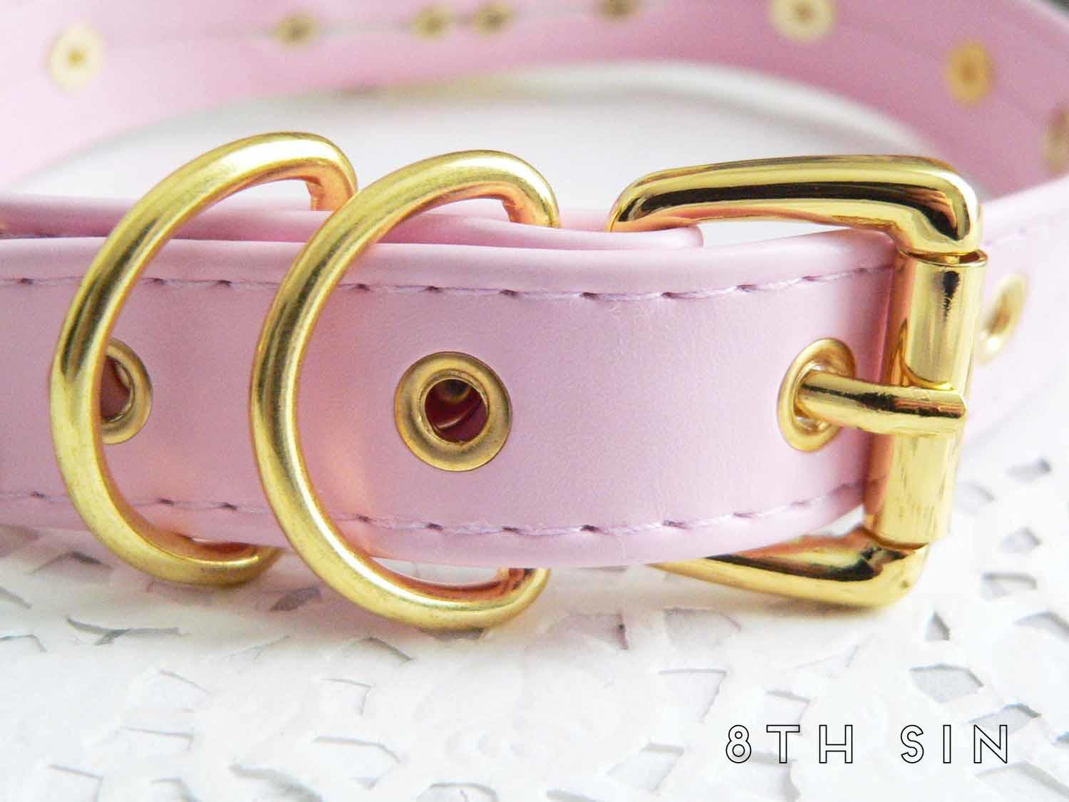 pink and gold heart padlock choker