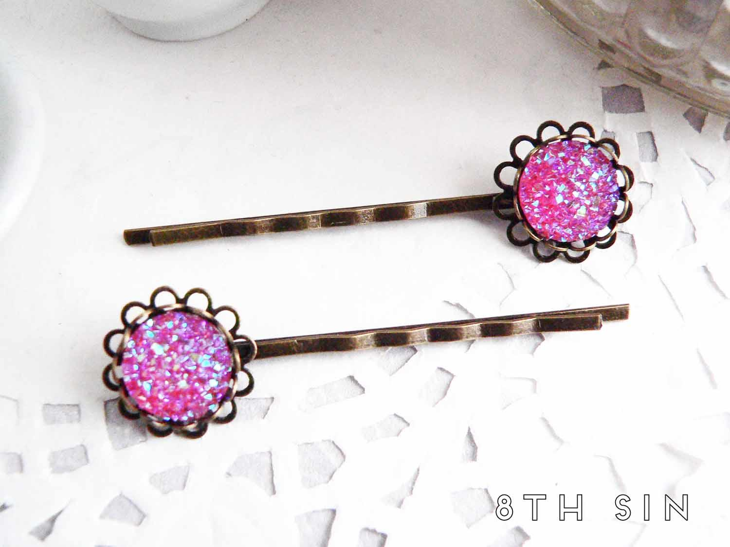 antique bronze and pink druzy hair slides