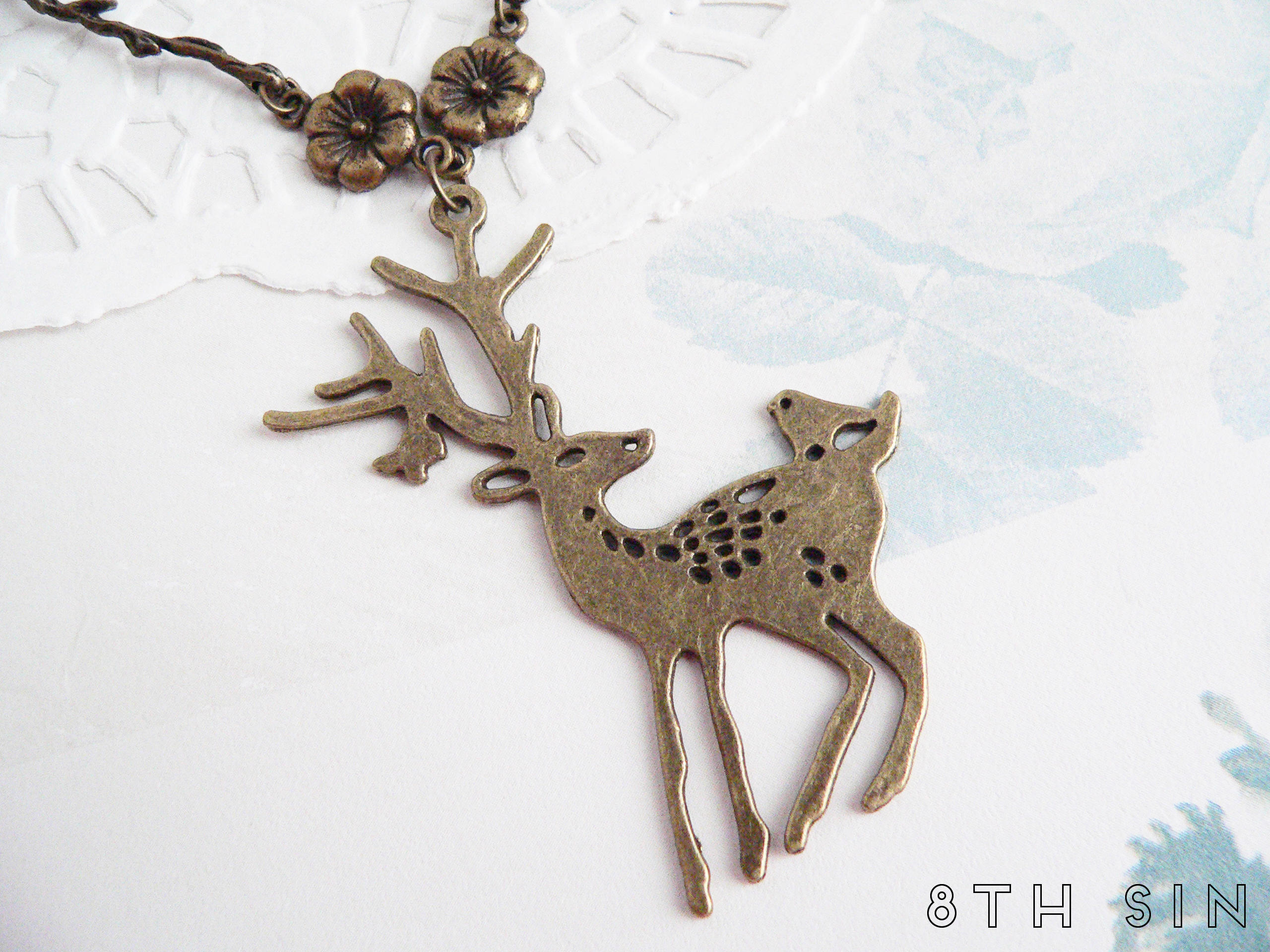 antique bronze deer necklace