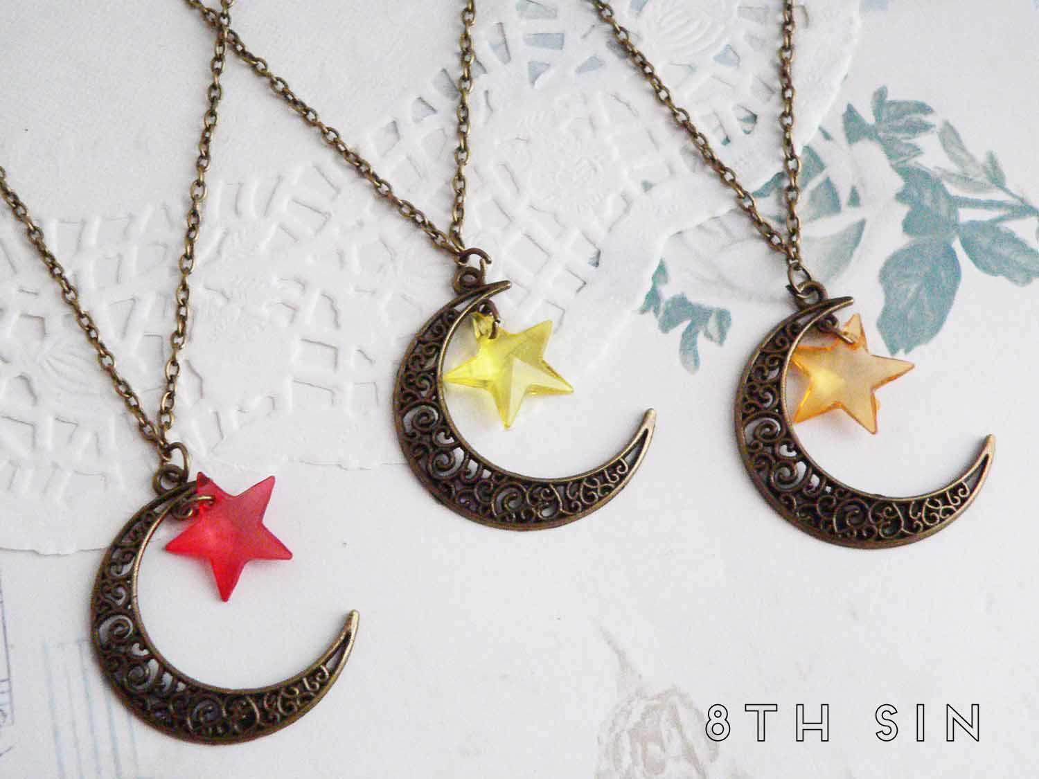 antique bronze moon and star necklace