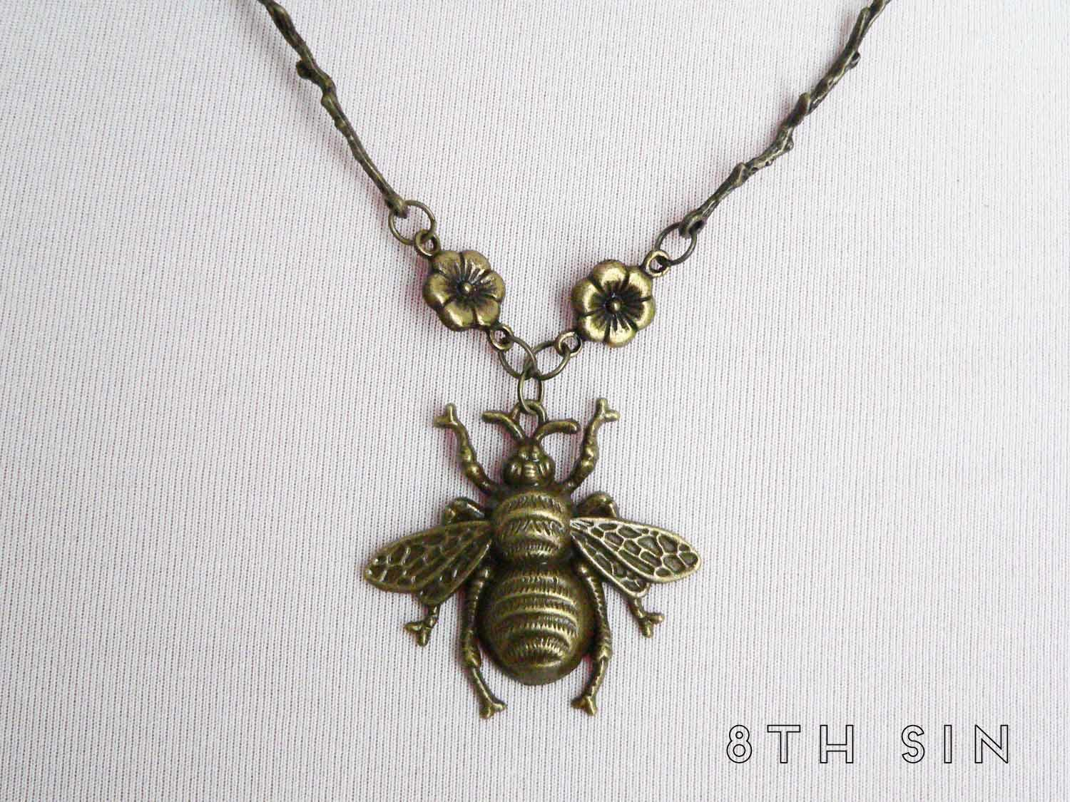 antique bronze bee necklace