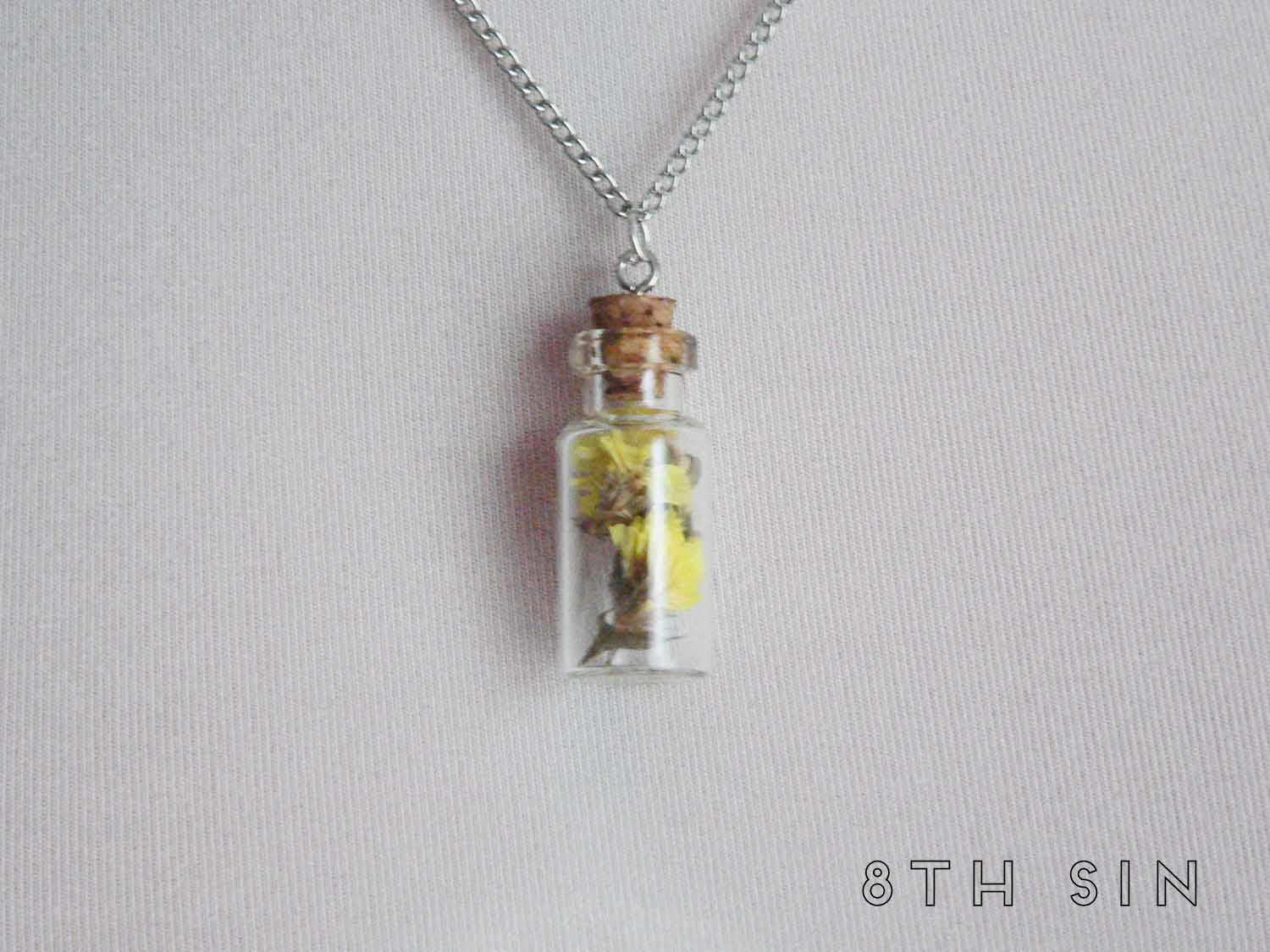 antique silver and yellow wildflower terrarium necklace