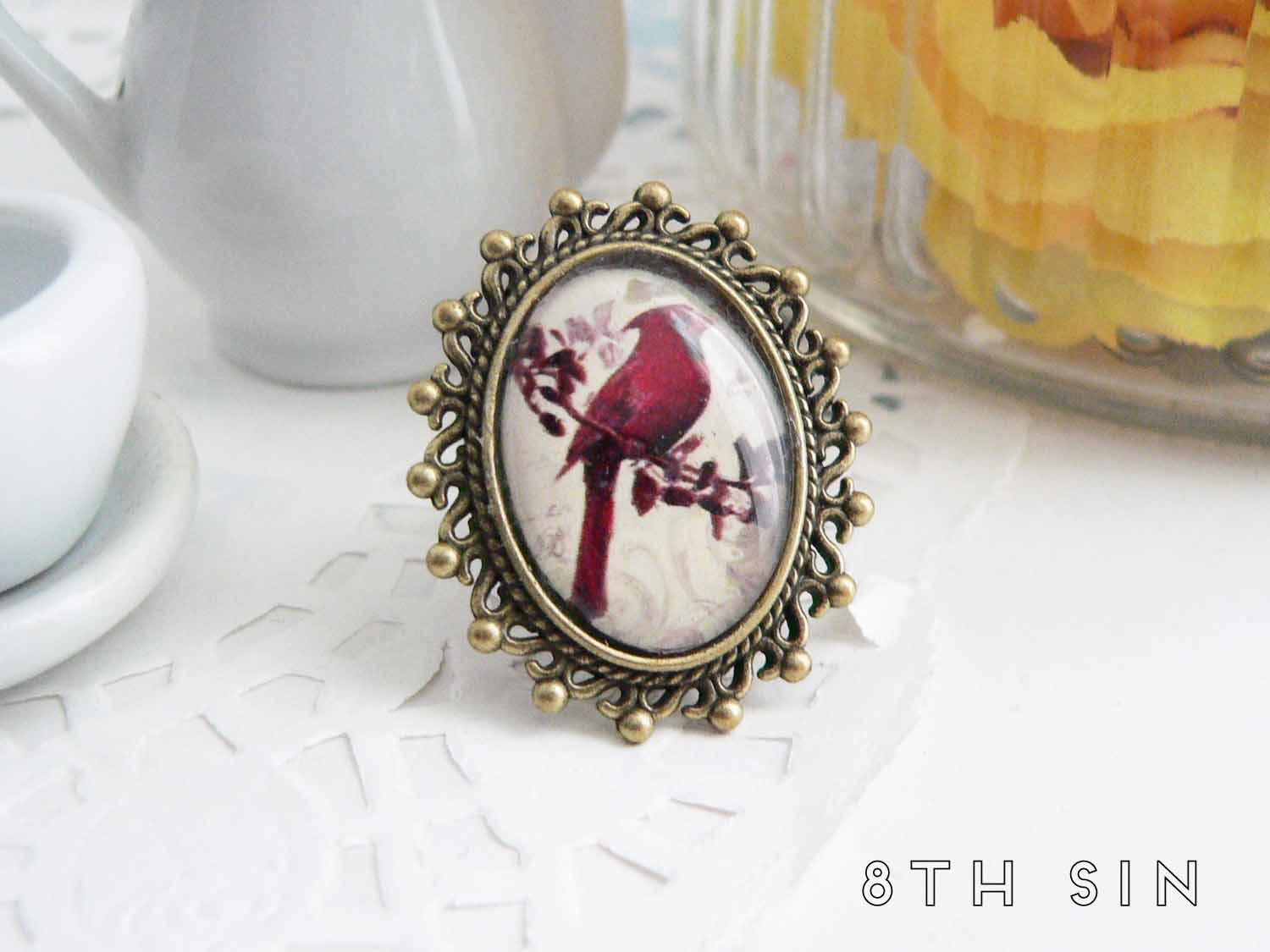 antique bronze woodpecker ring