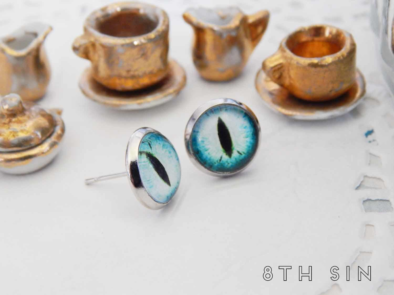 antique silver and blue dragon eye stud earrings