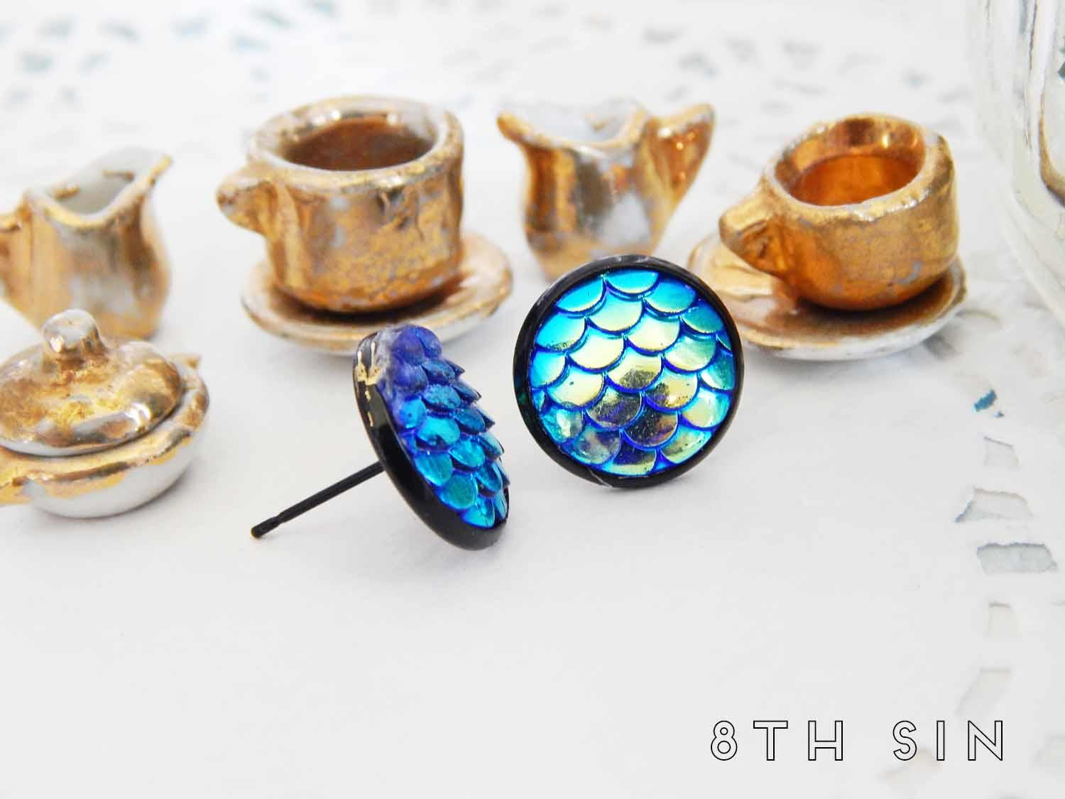 gunmetal black and blue dragon scale stud earrings