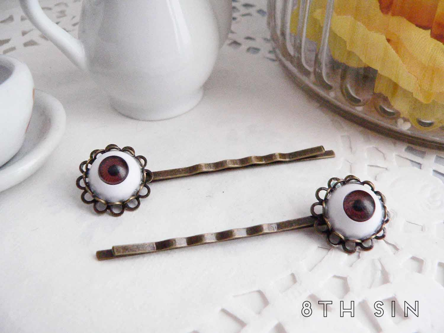 antique bronze and brown eye hair slides