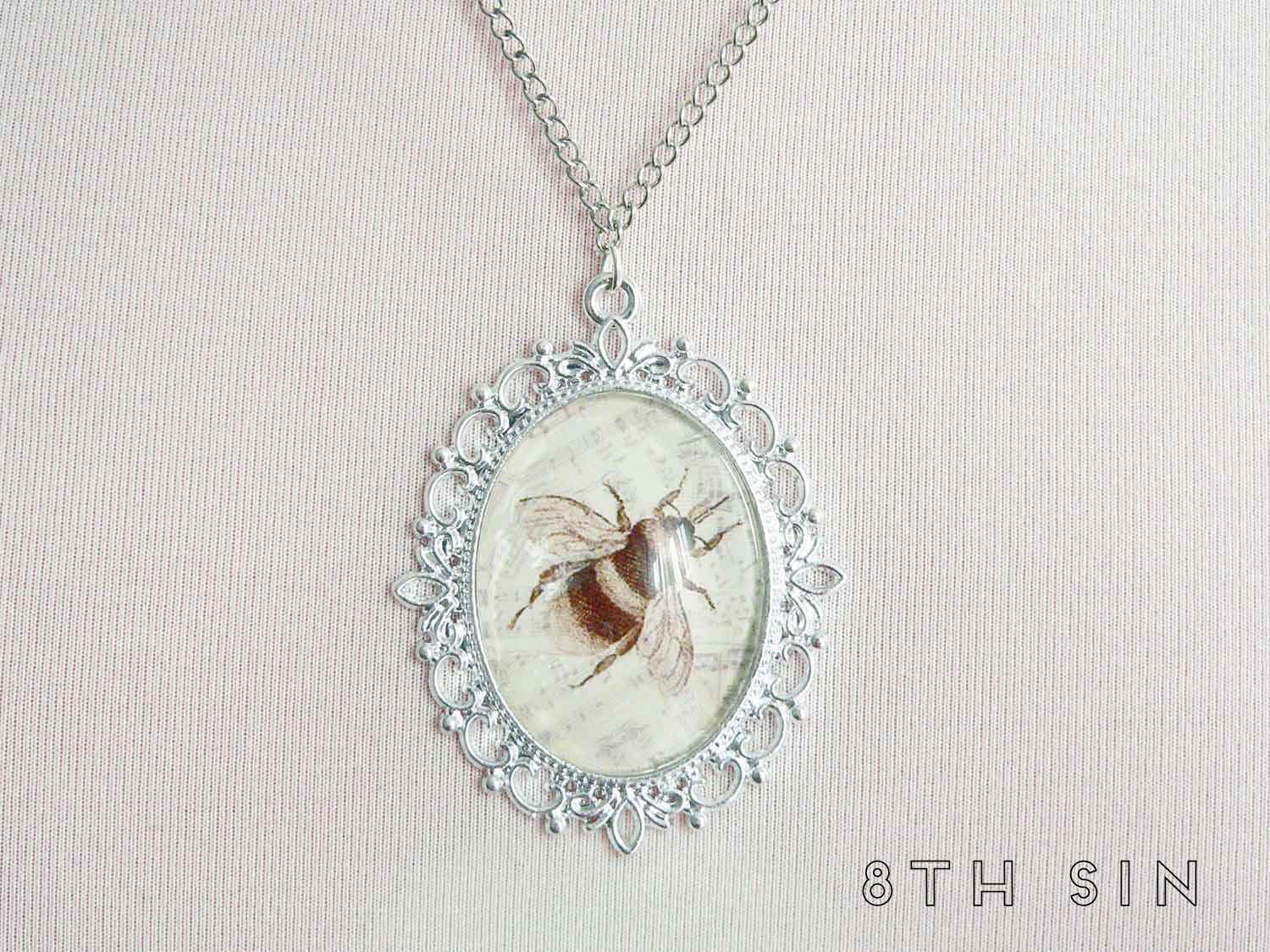 antique silver bee necklace