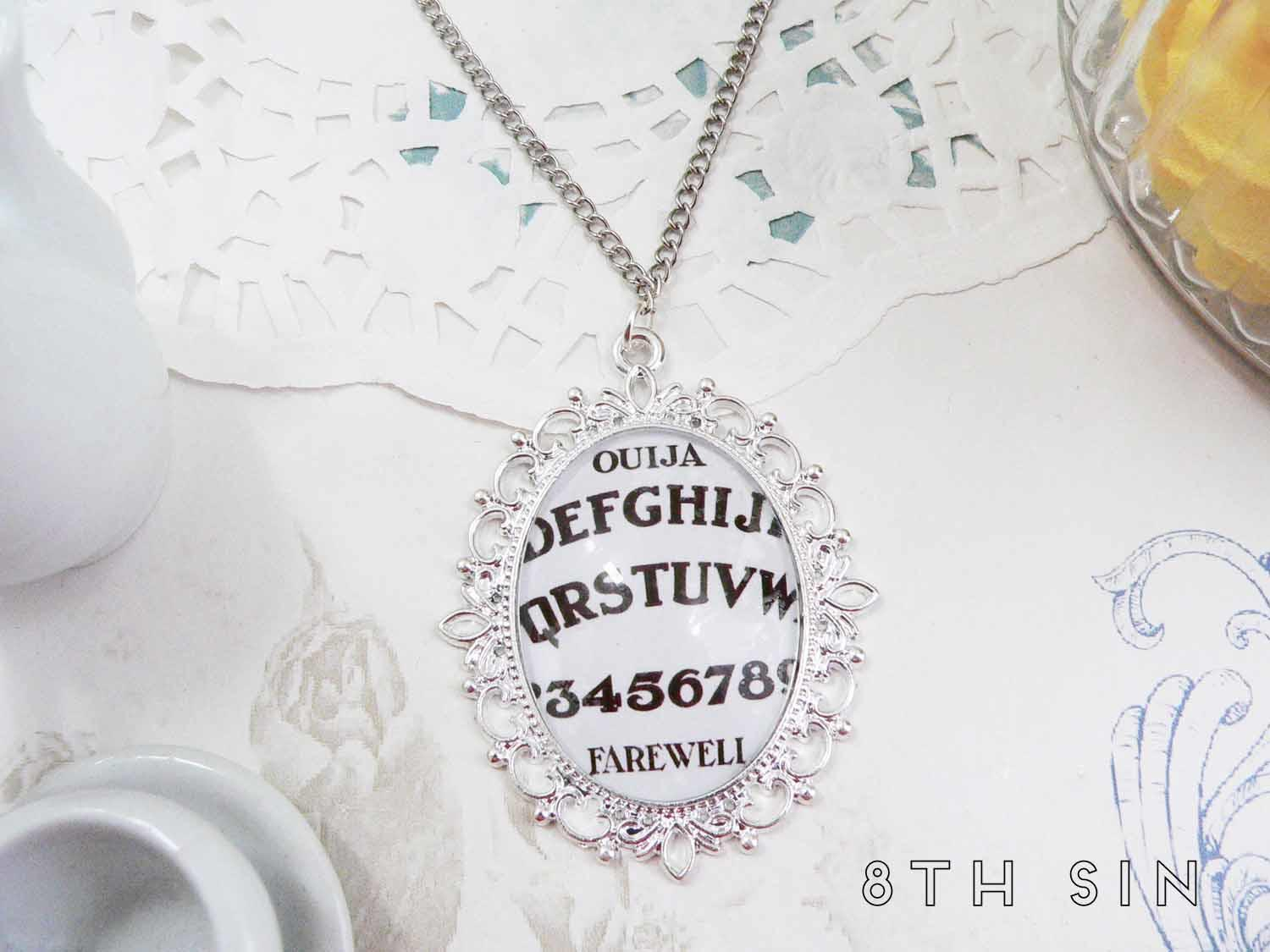 antique silver ouija board necklace