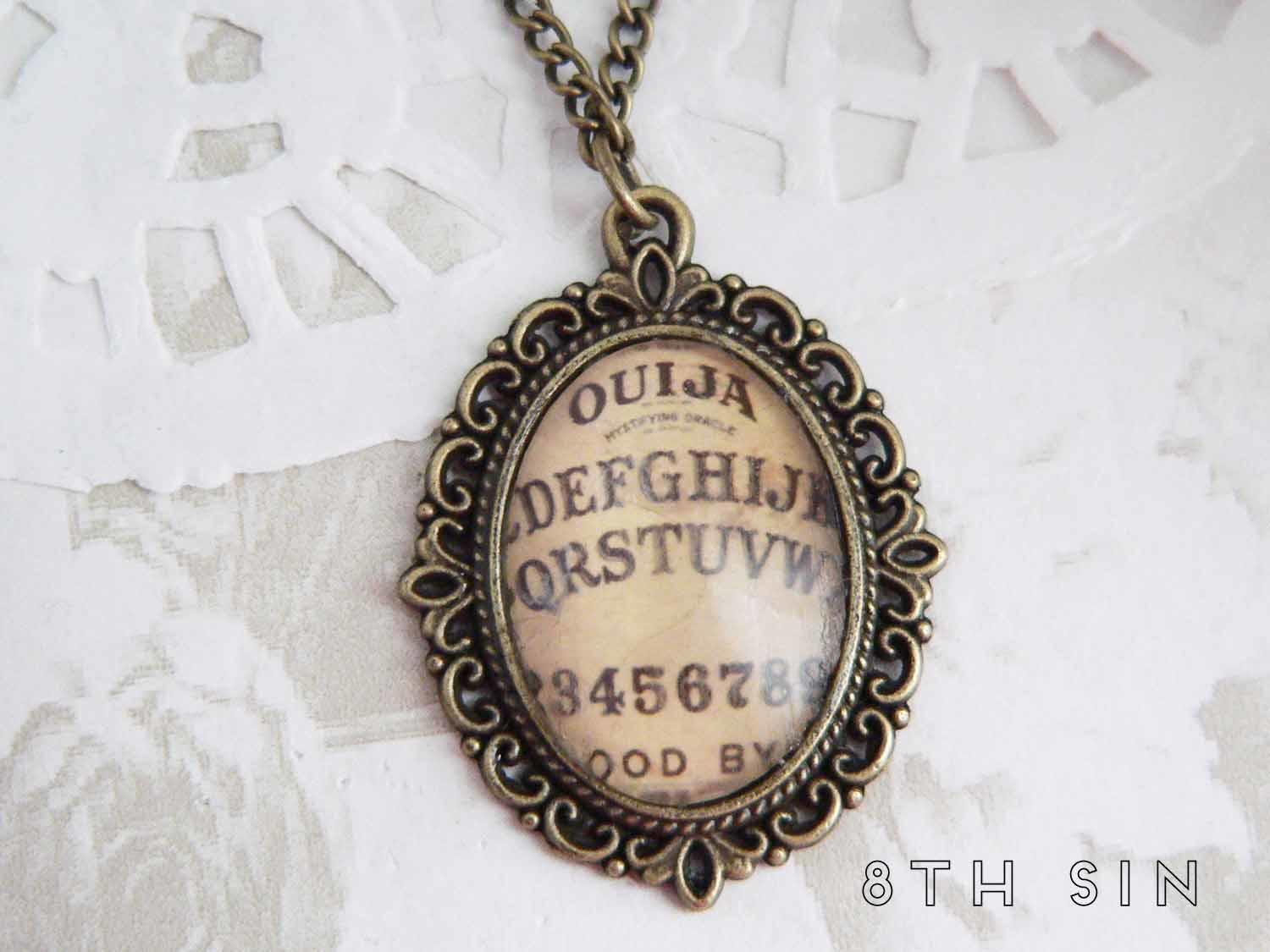 antique bronze ouija board necklace