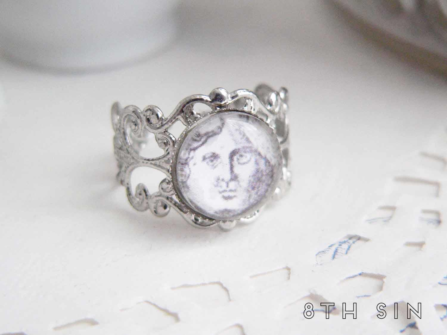antique silver moon ring