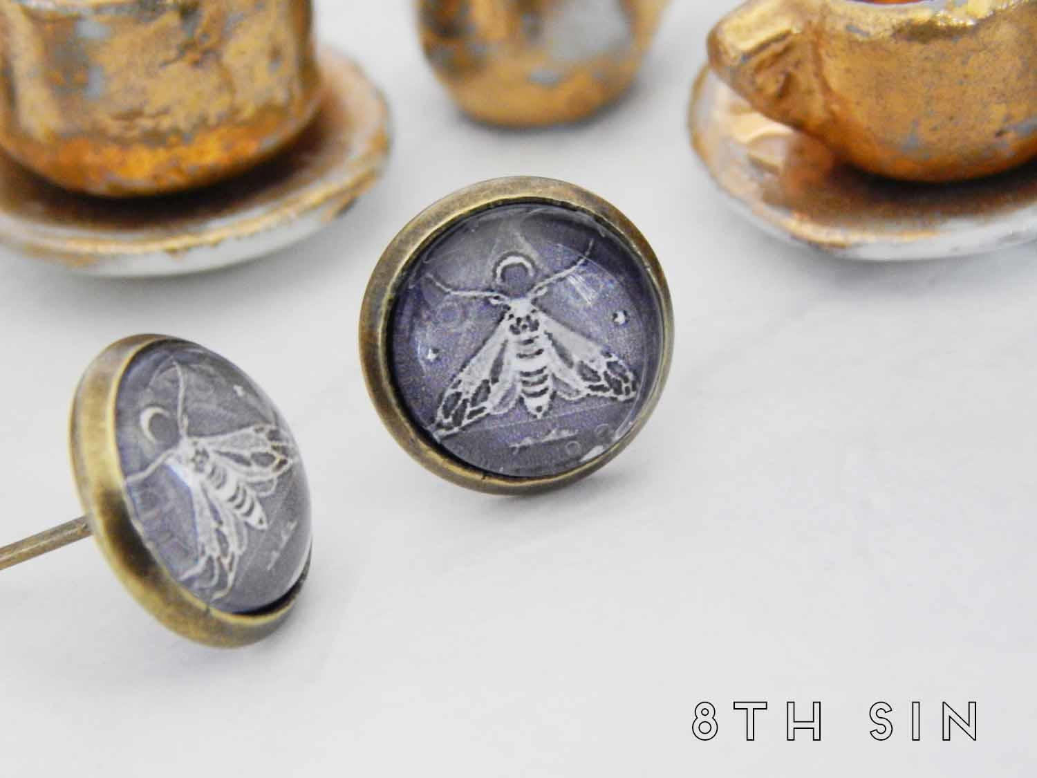 antique bronze and black death moth stud earrings