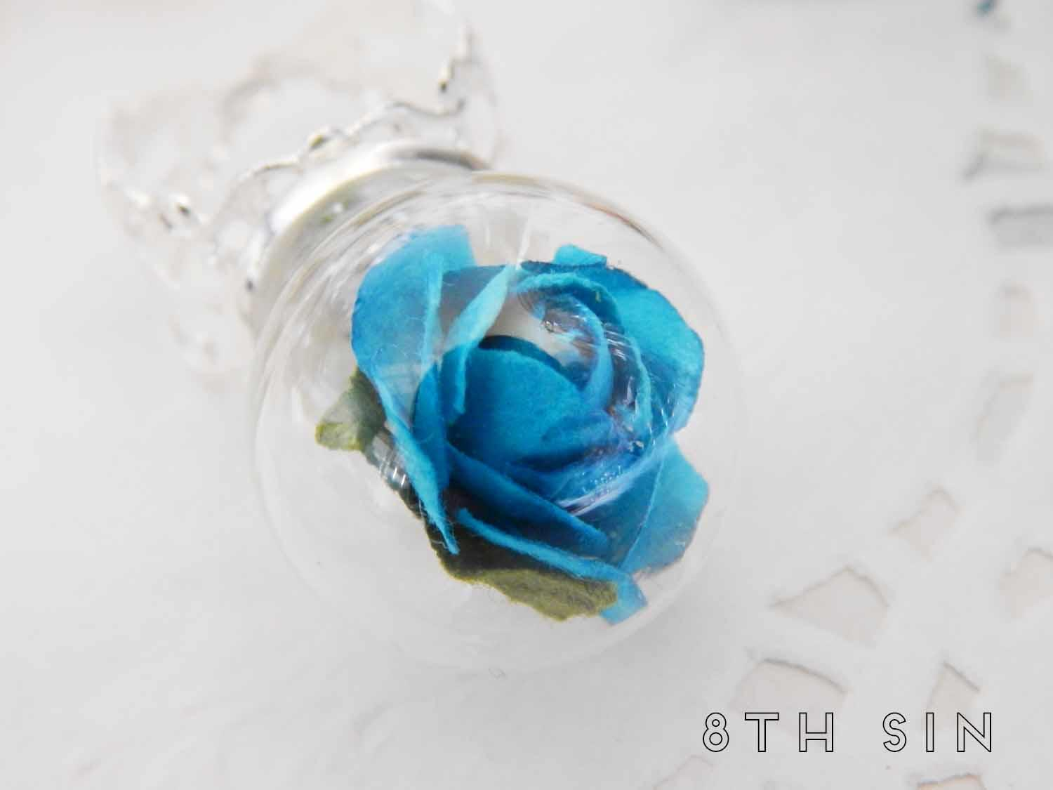 antique silver and blue rose terrarium ring