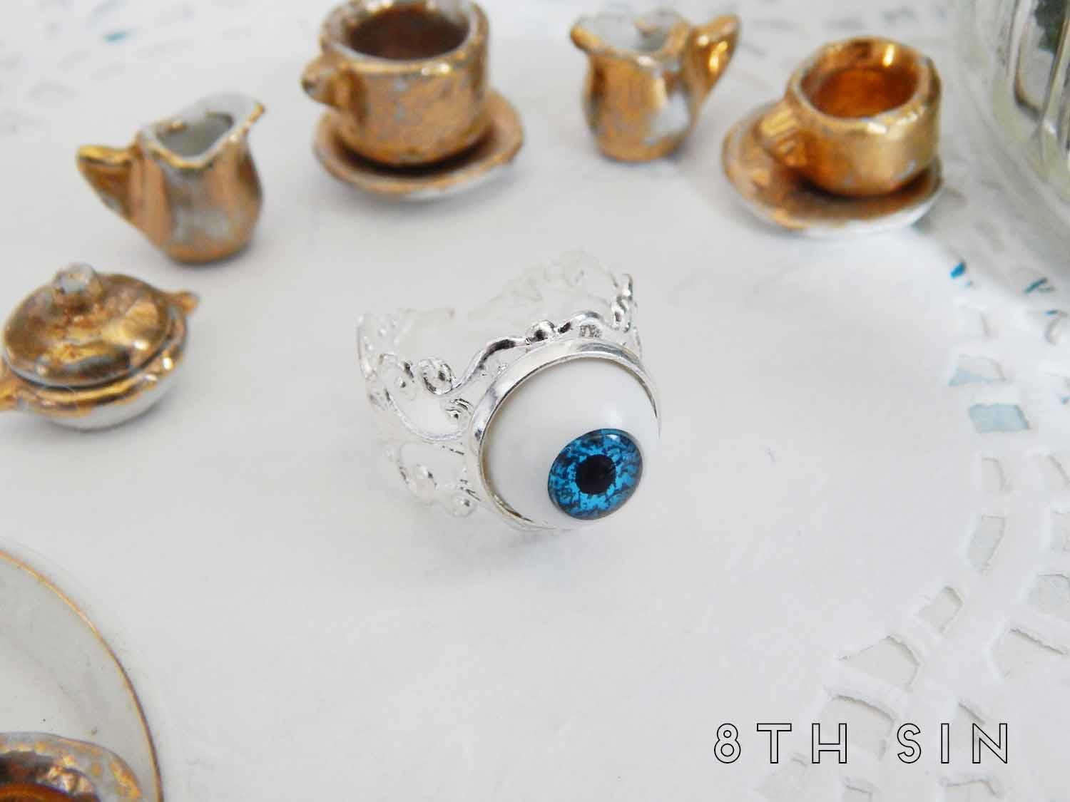 antique silver and blue eyeball ring