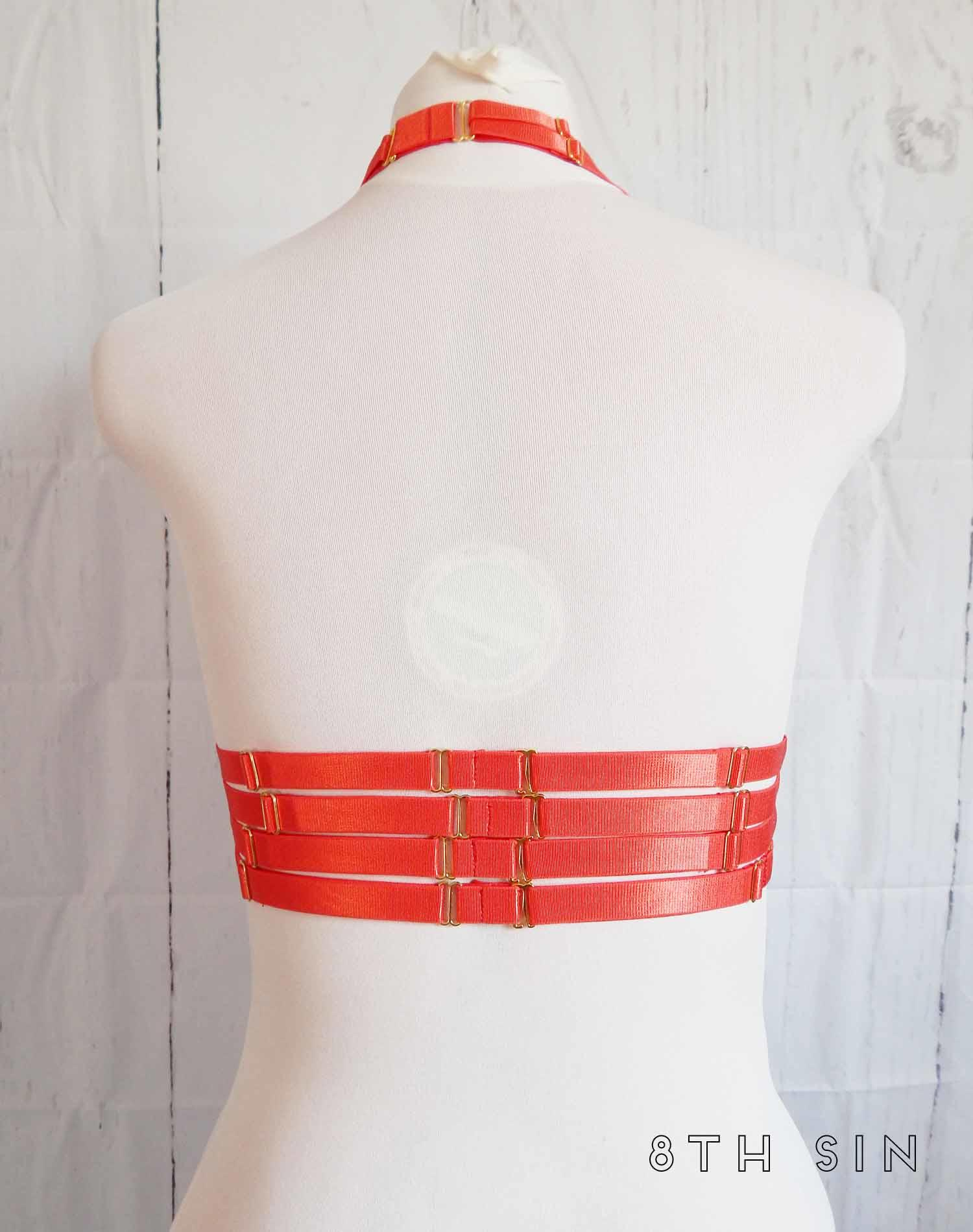 red elastic body harness