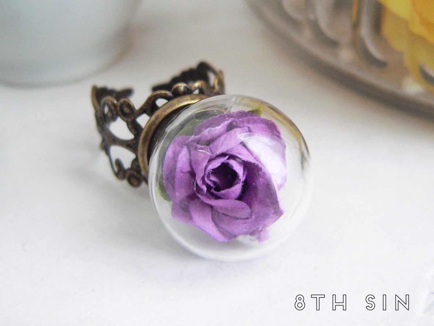 antique bronze and purple rose terrarium ring
