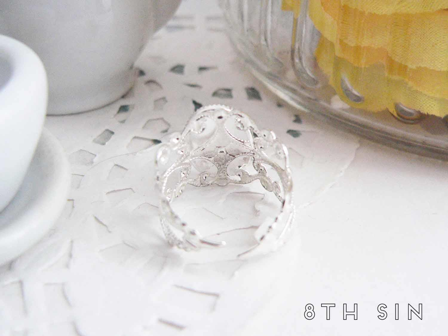 antique silver butterfly ring