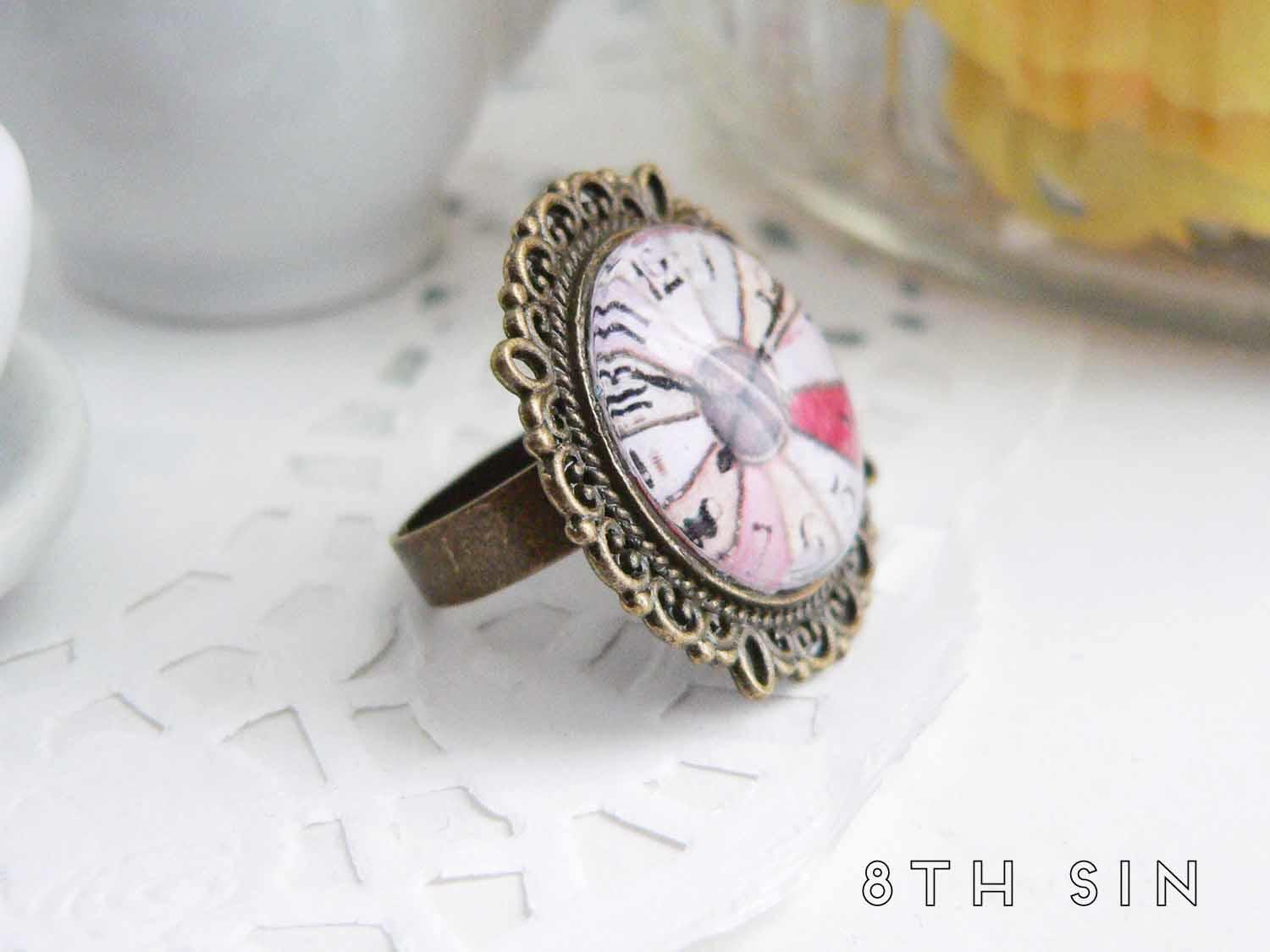 antique bronze clock ring