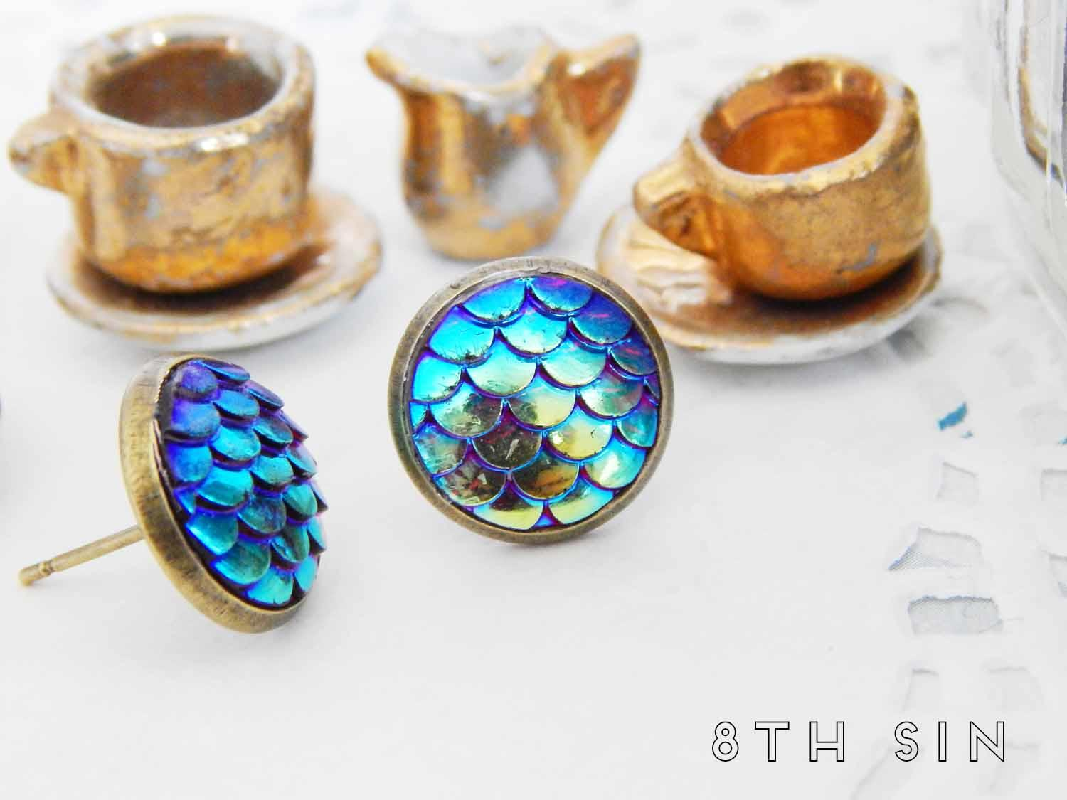 antique bronze and green dragon scale stud earrings
