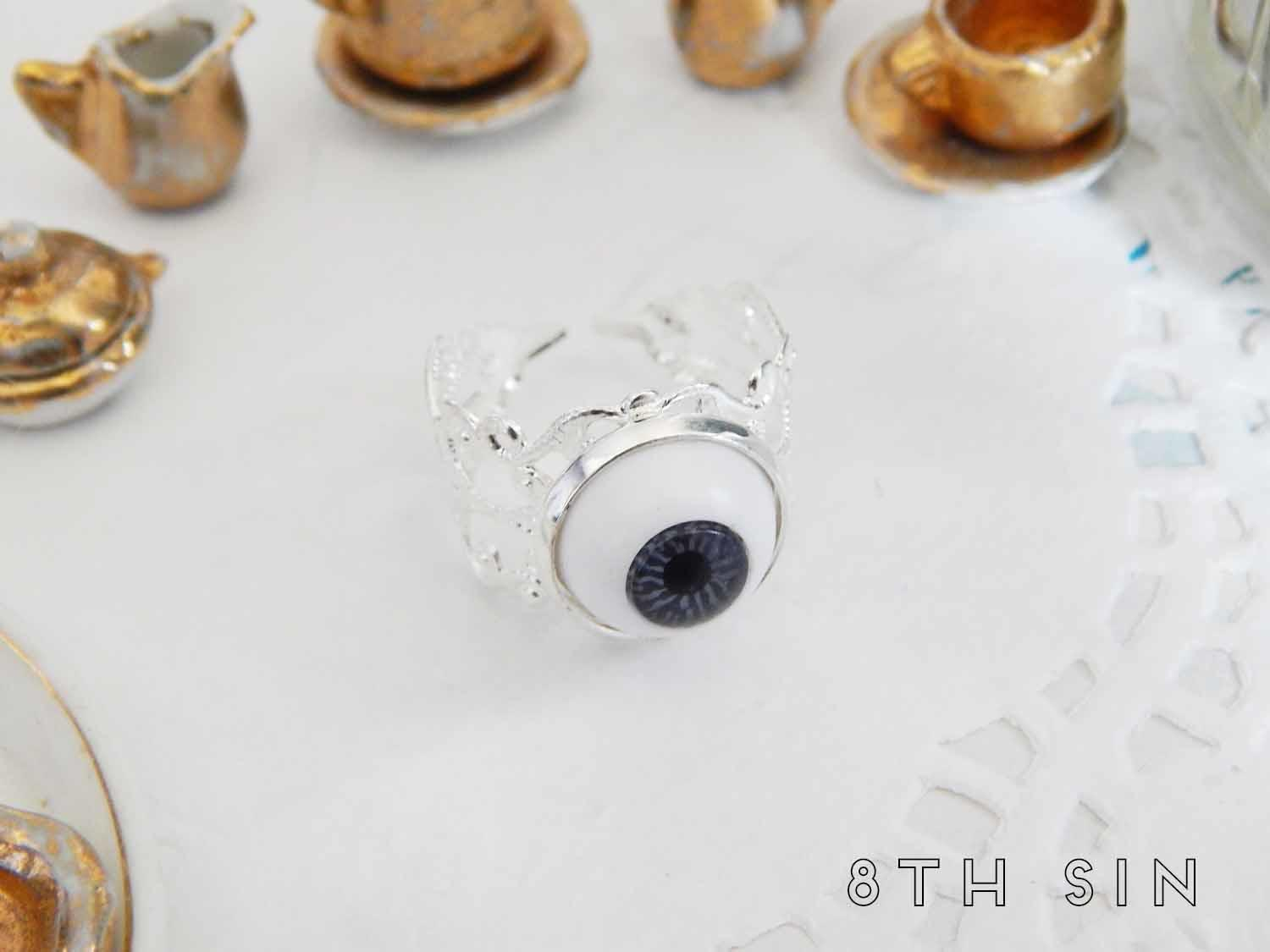 antique silver and grey eyeball ring