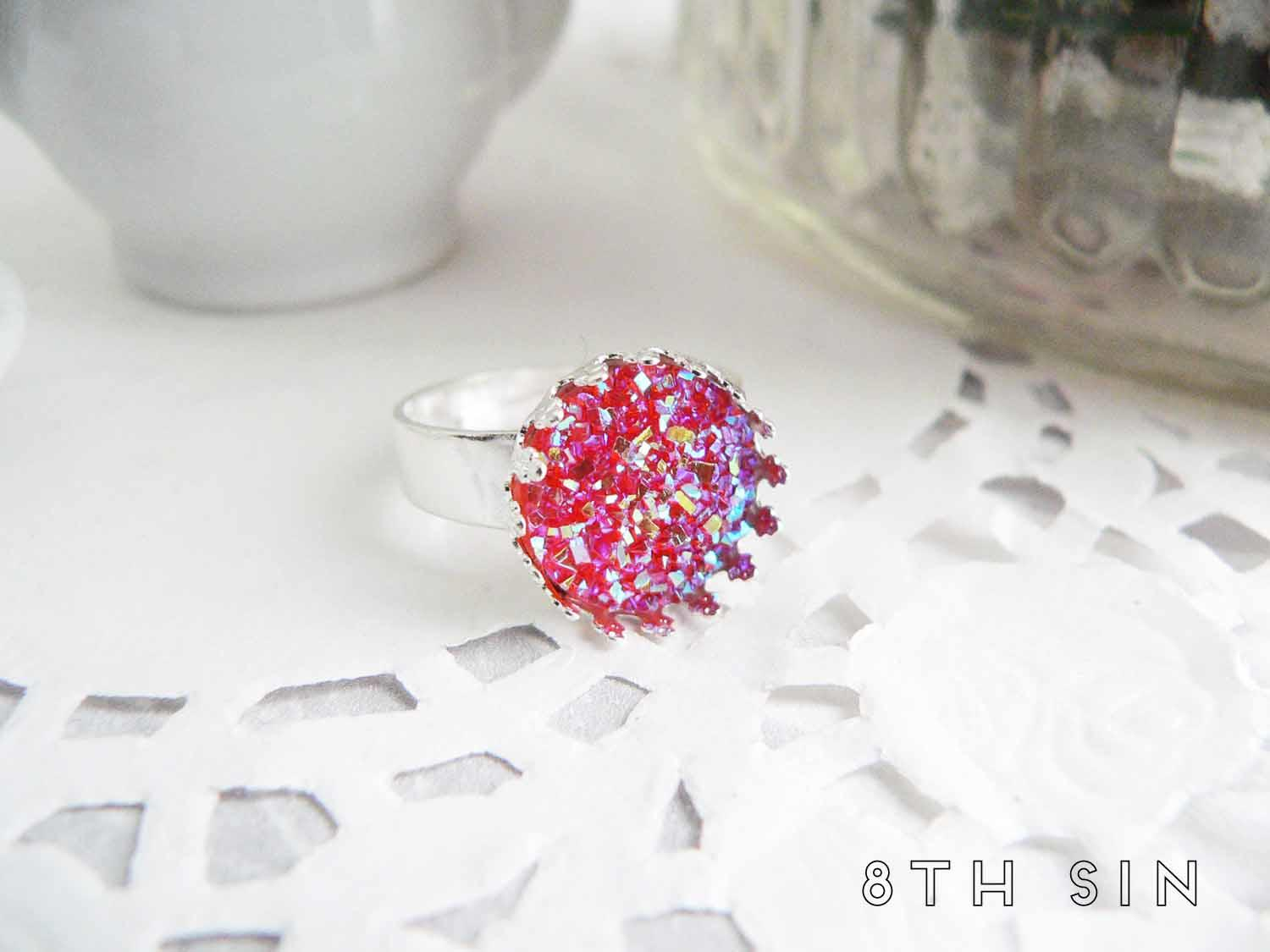 antique silver and pink druzy ring