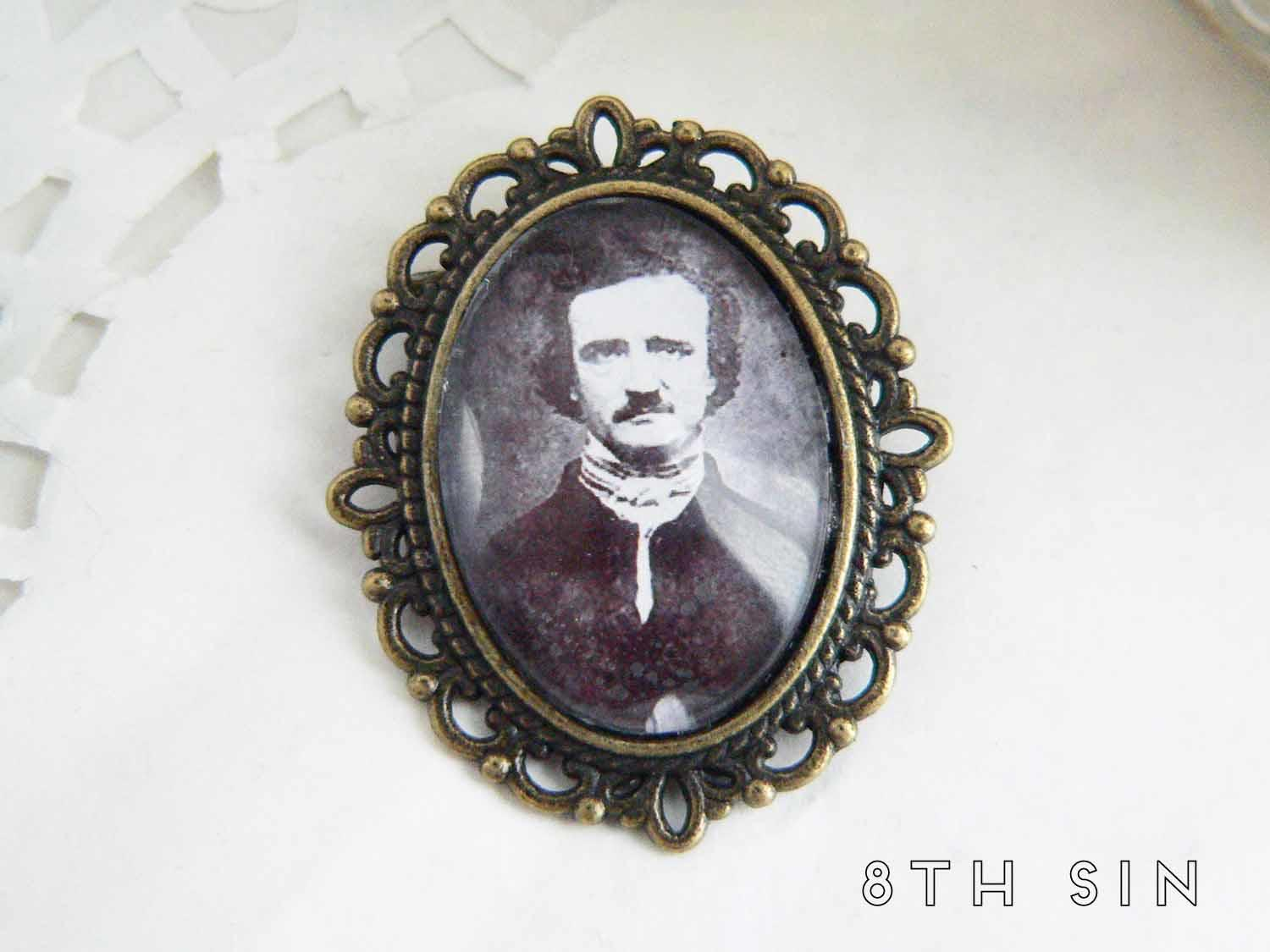 antique bronze edgar allan poe brooch