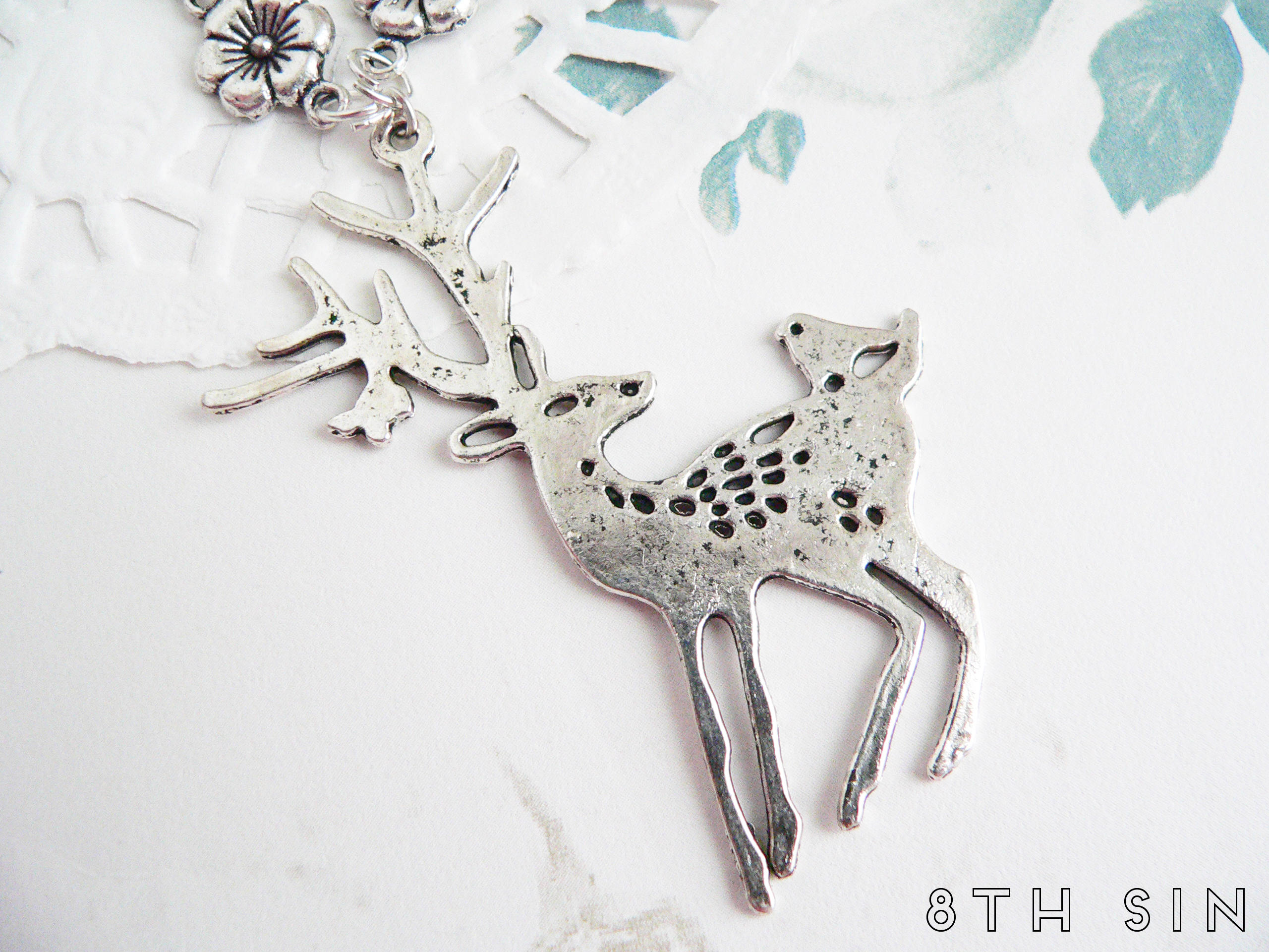 antique silver deer necklace